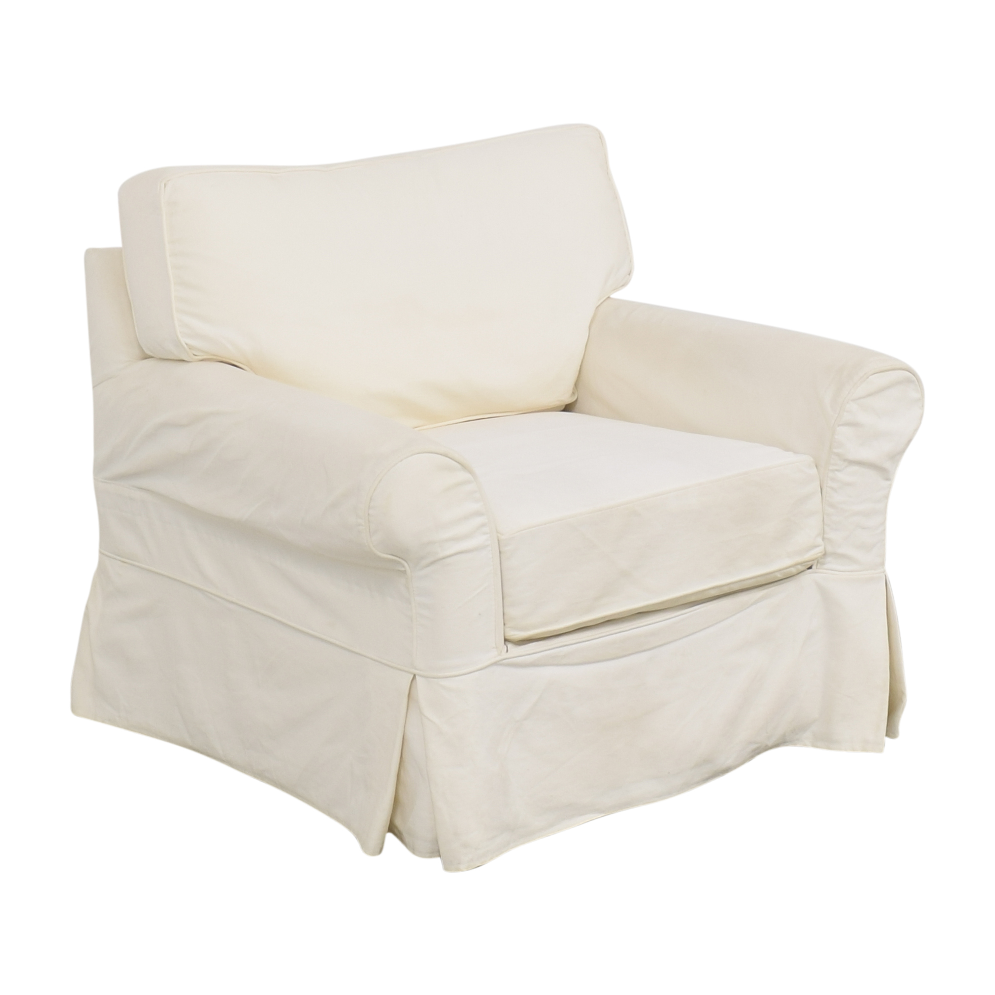 Crate & Barrel Crate & Barrel Slipcovered Arm Chair with Ottoman Chairs