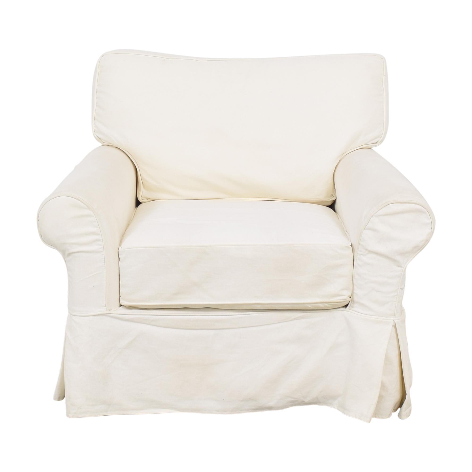 Crate & Barrel Crate & Barrel Slipcovered Arm Chair with Ottoman on sale