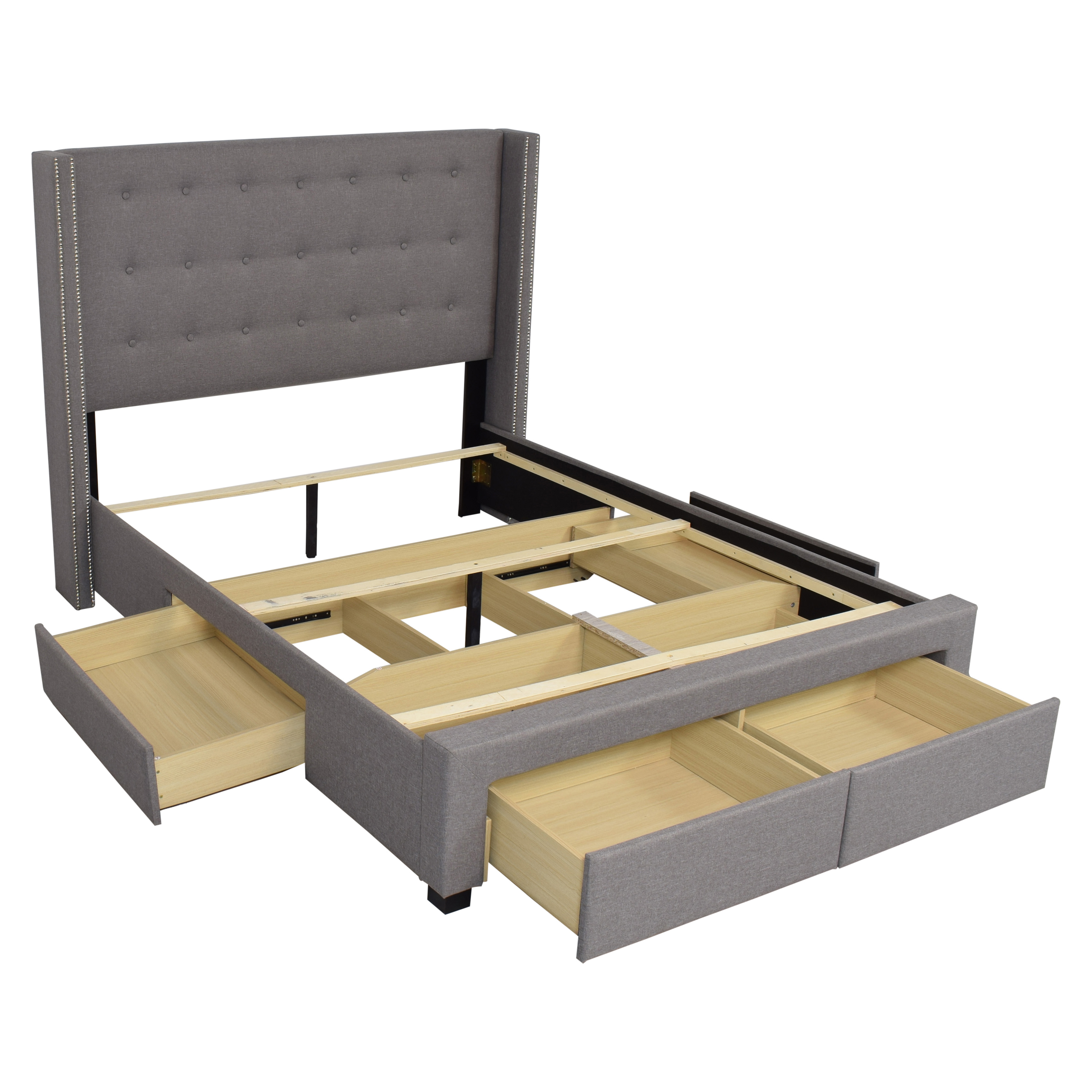 Strick & Bolton Strick & Bolton Wingback Queen Storage Bed grey