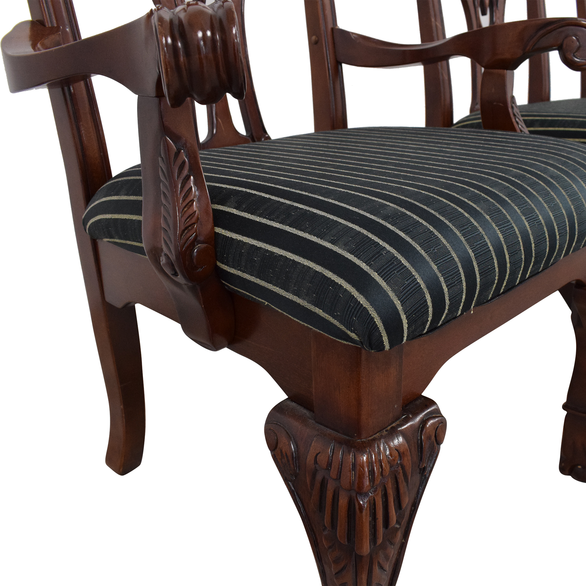 Chippendale Dining Chairs brown & green