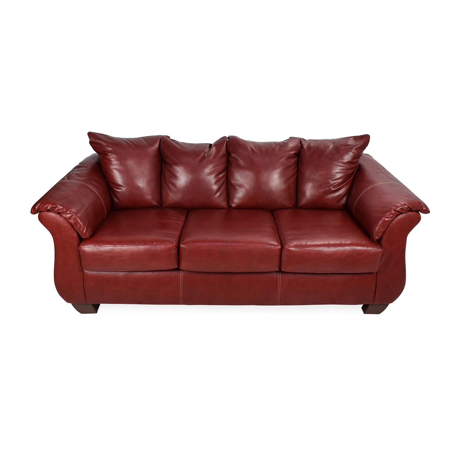 72% OFF - Haymarket Sierra Red Leather Sofa / Sofas