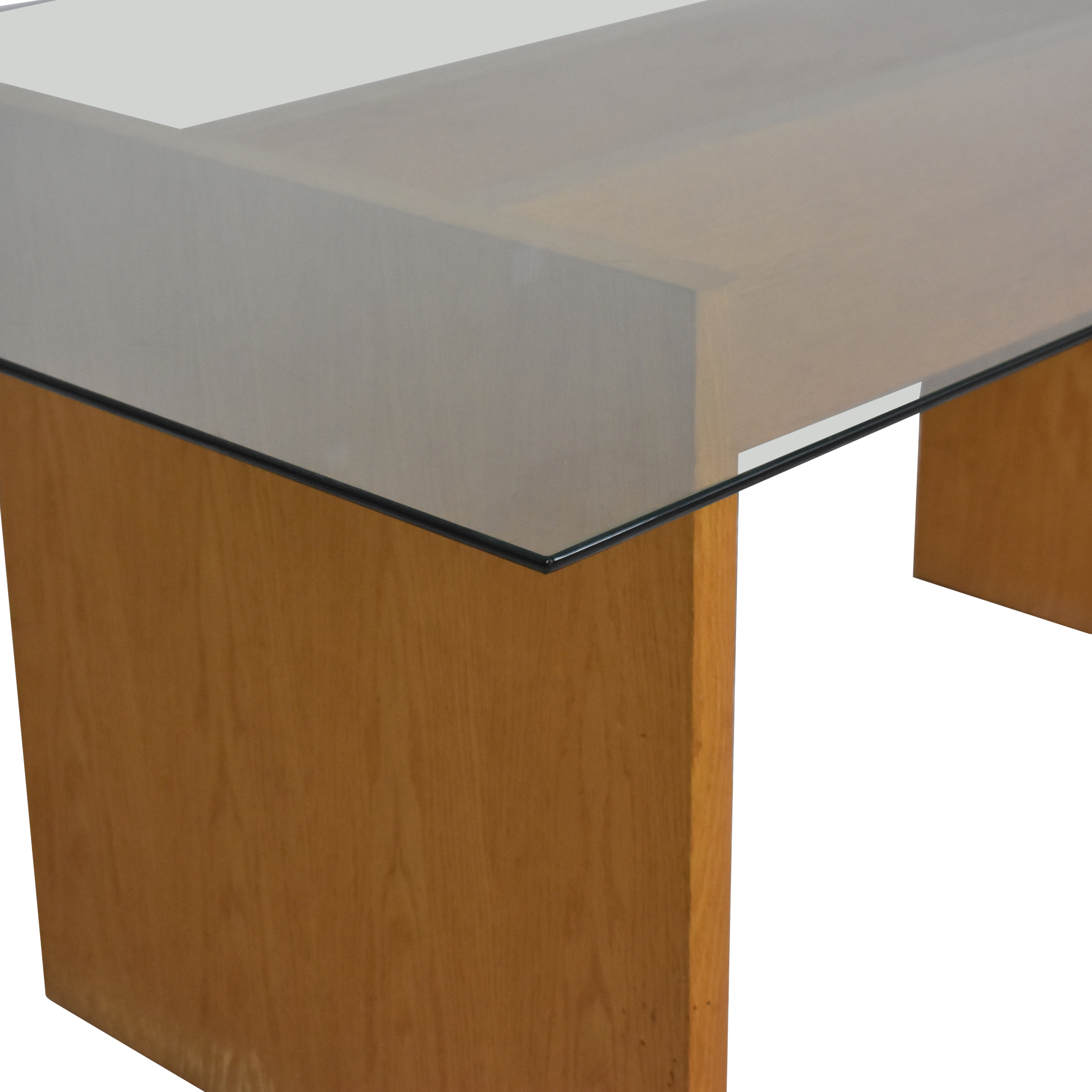 Modern Glass Top Dining Table brown