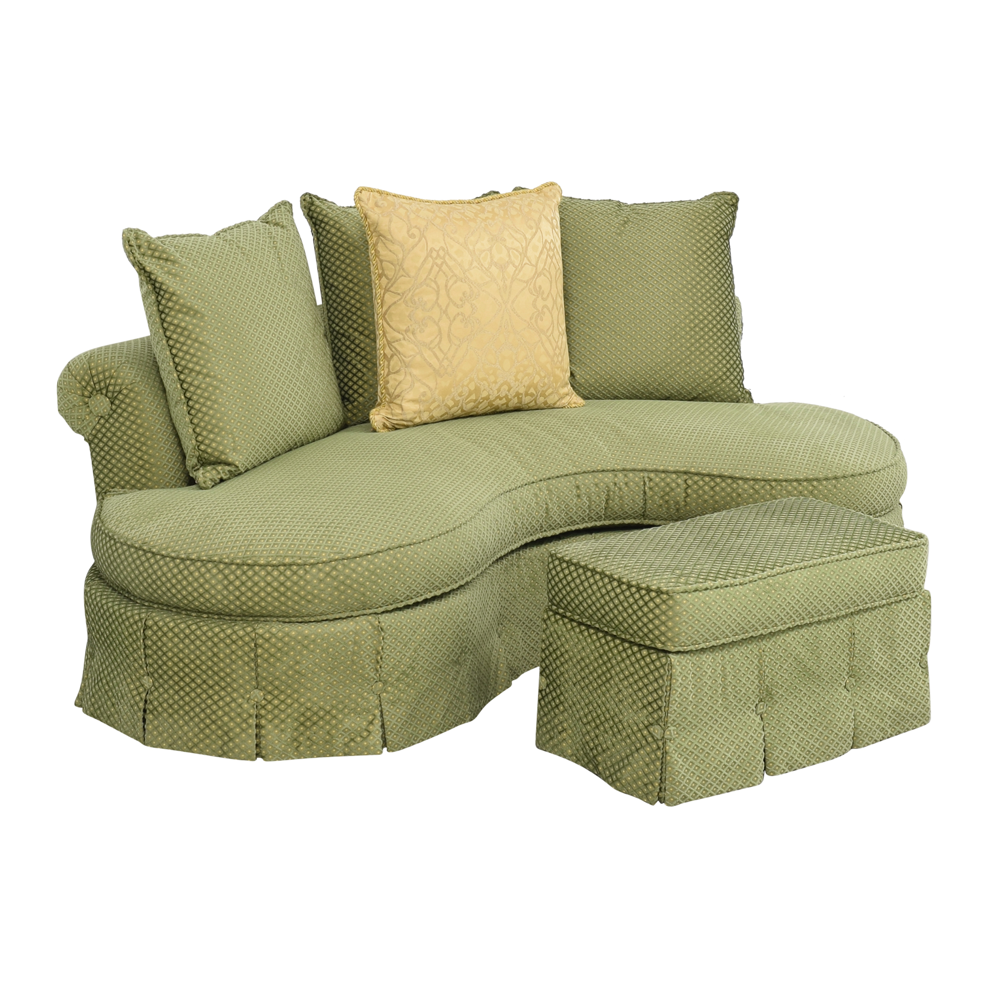 Custom Curved Sofa with Skirted Base and Matching Ottoman sale