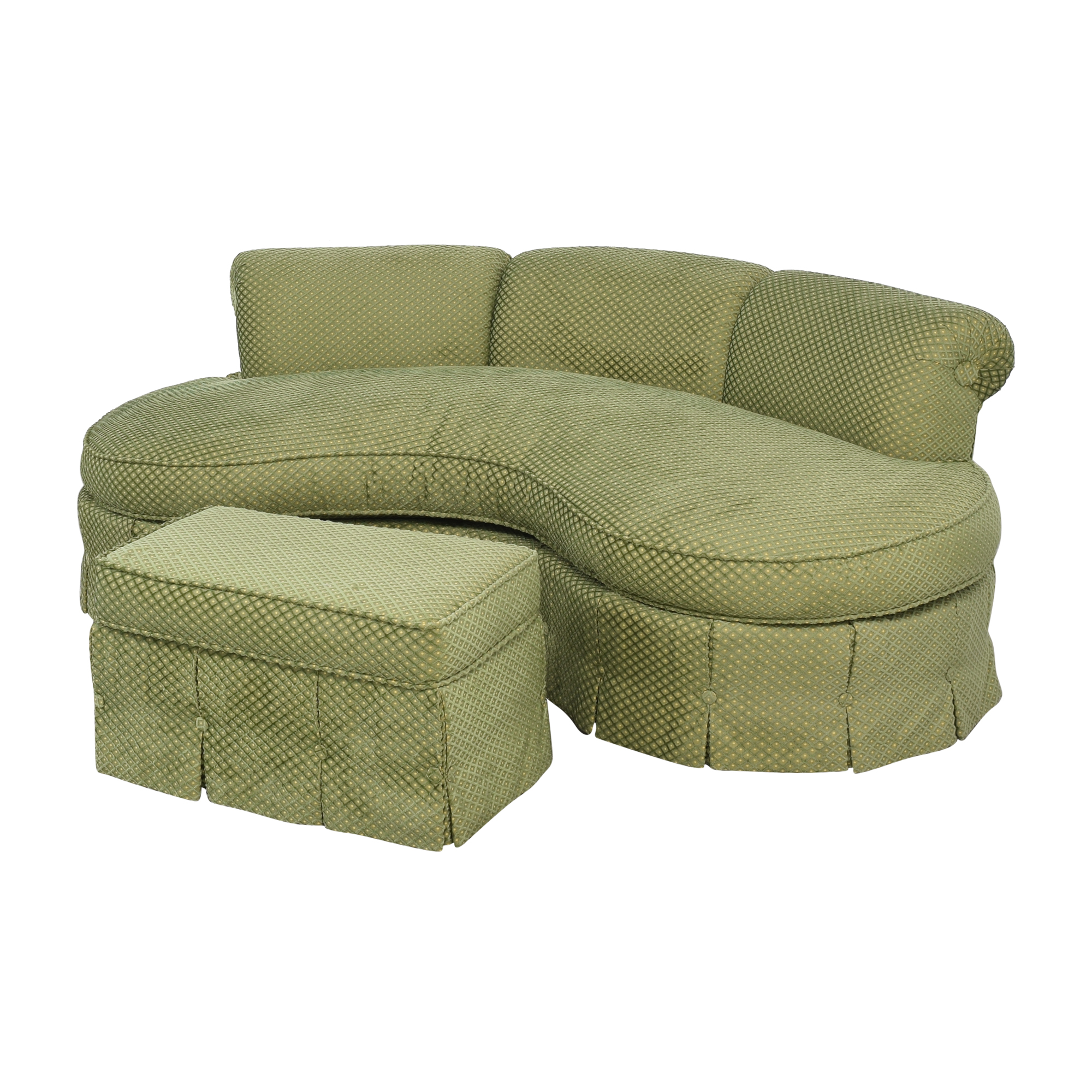 Custom Curved Sofa with Skirted Base and Matching Ottoman on sale