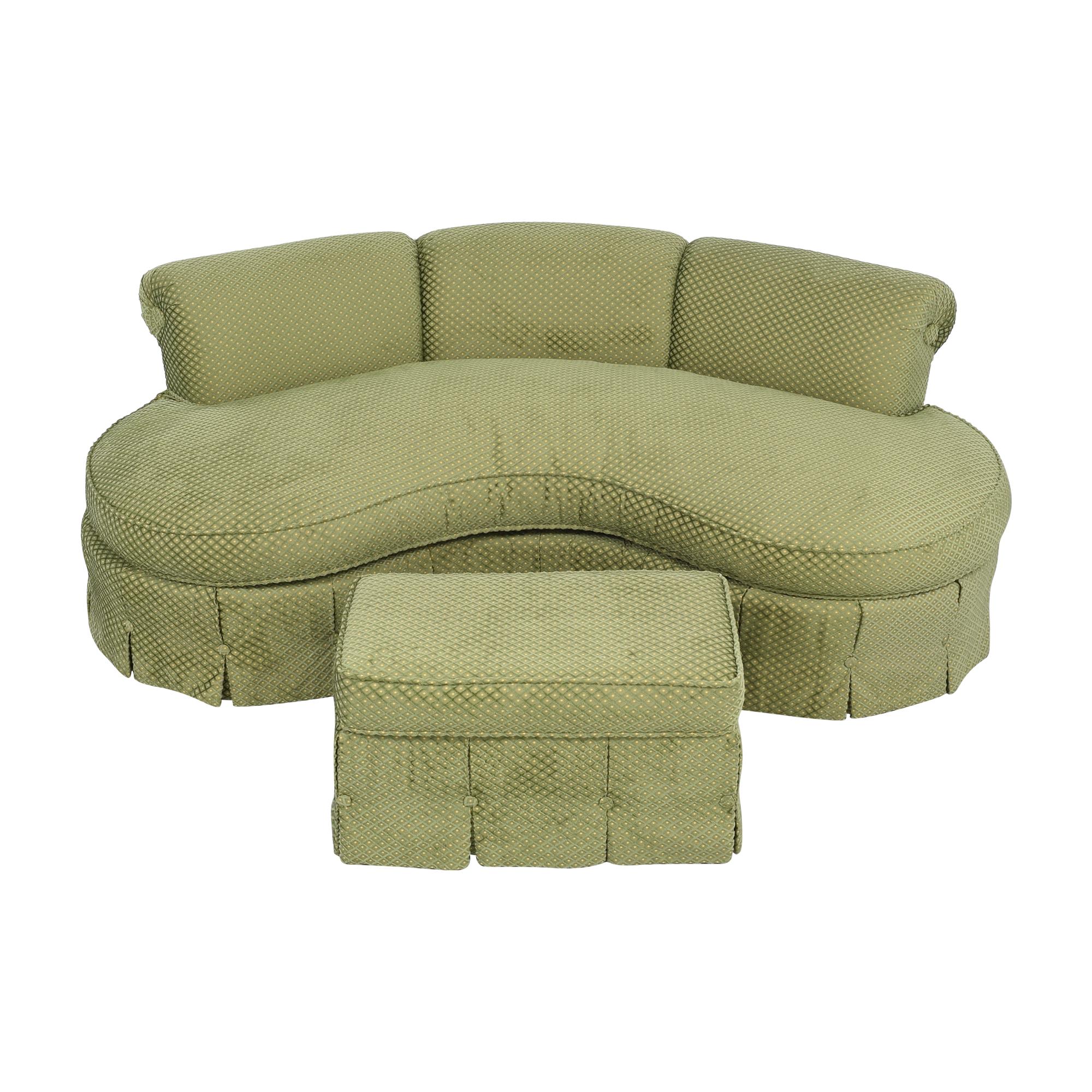 Custom Curved Sofa with Skirted Base and Matching Ottoman ma