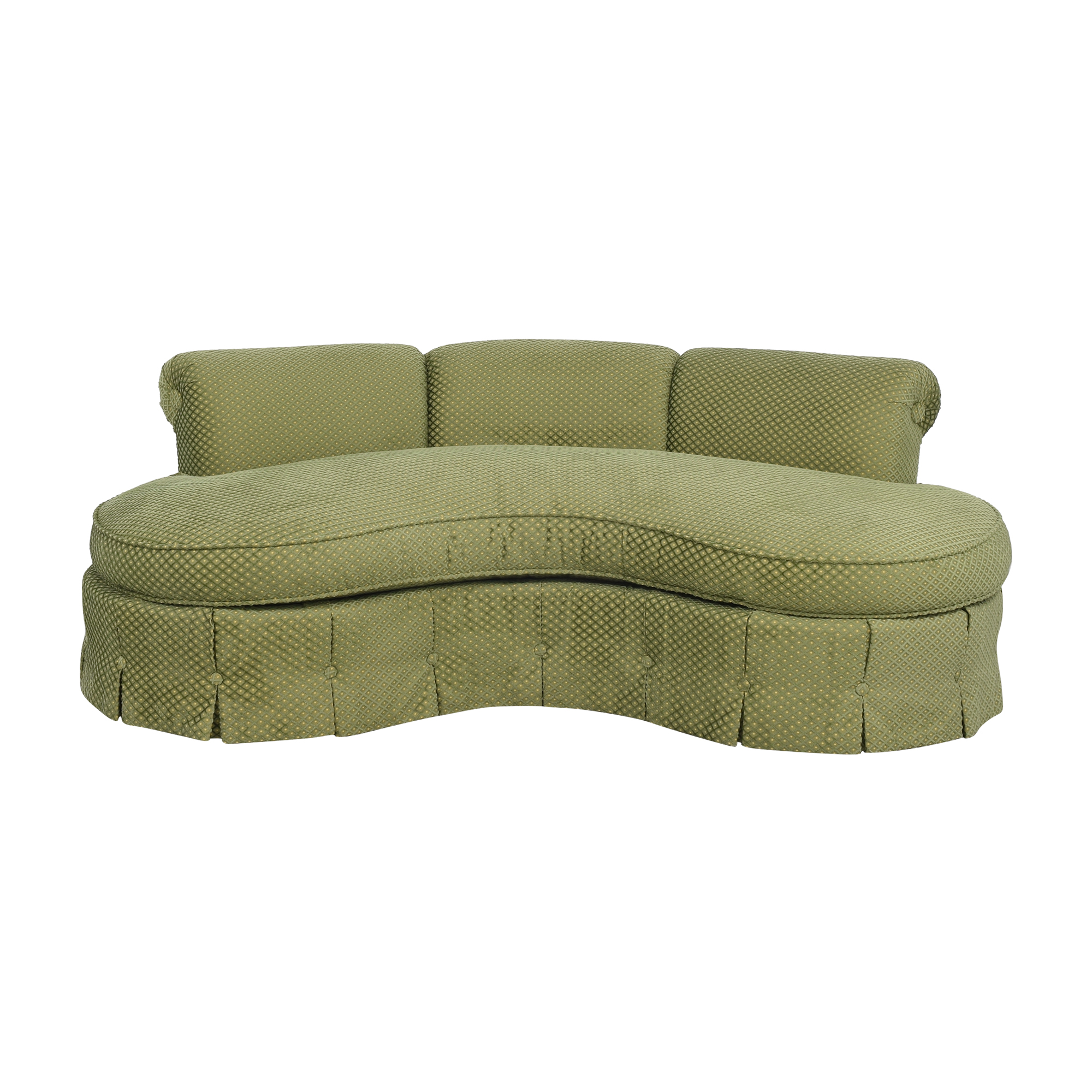 Custom Curved Sofa with Skirted Base and Matching Ottoman Classic Sofas