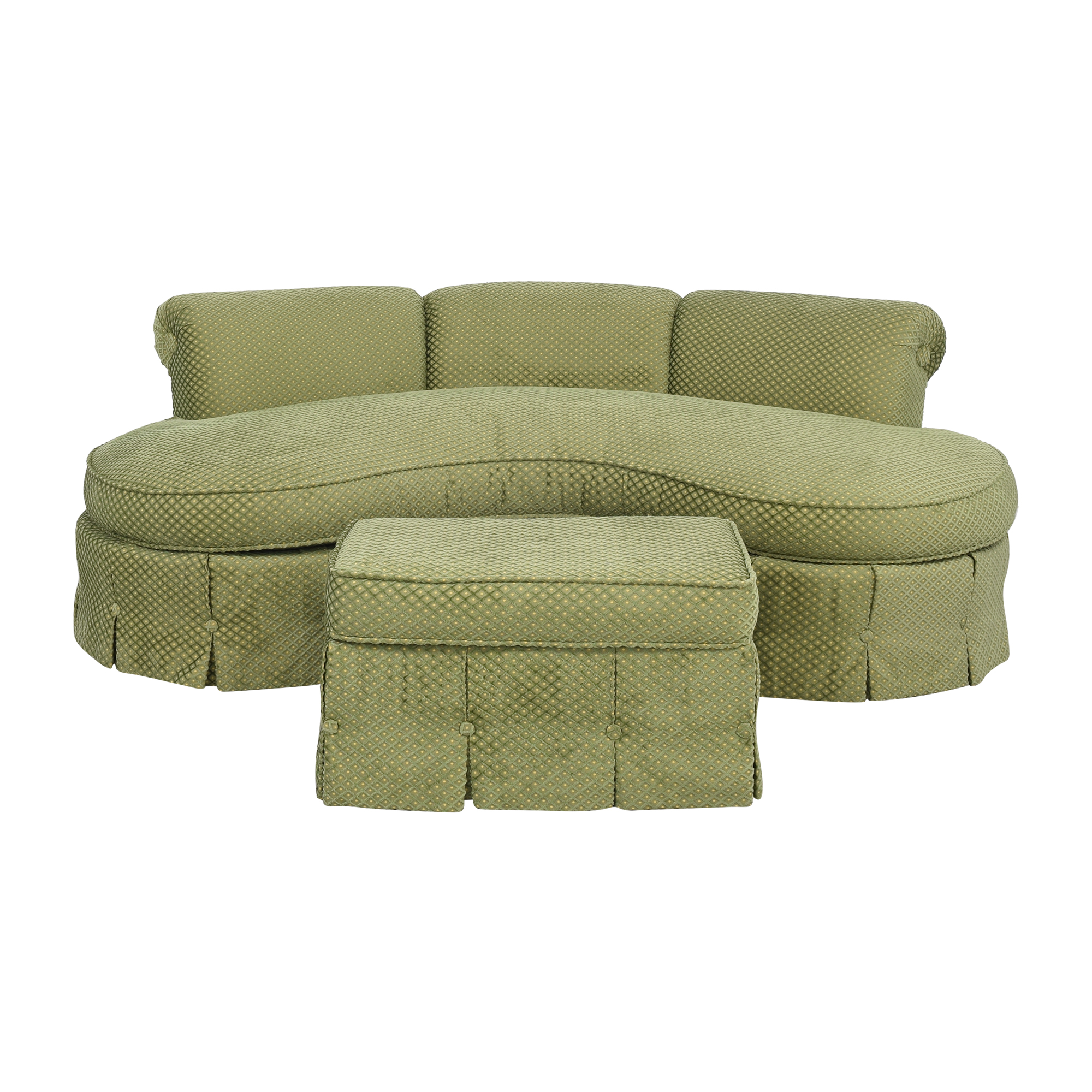 shop Custom Curved Sofa with Skirted Base and Matching Ottoman