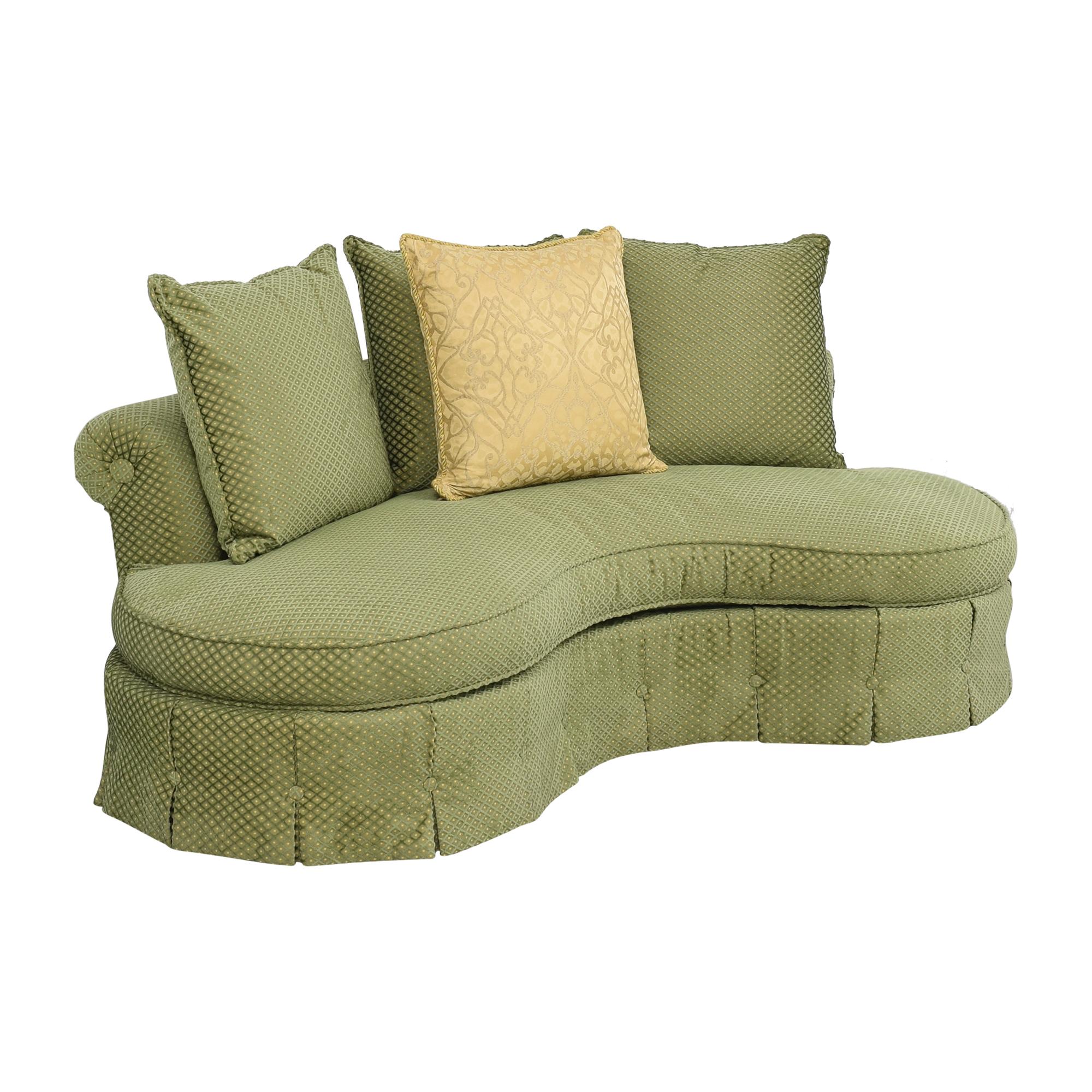 Custom Curved Sofa with Skirted Base and Matching Ottoman coupon