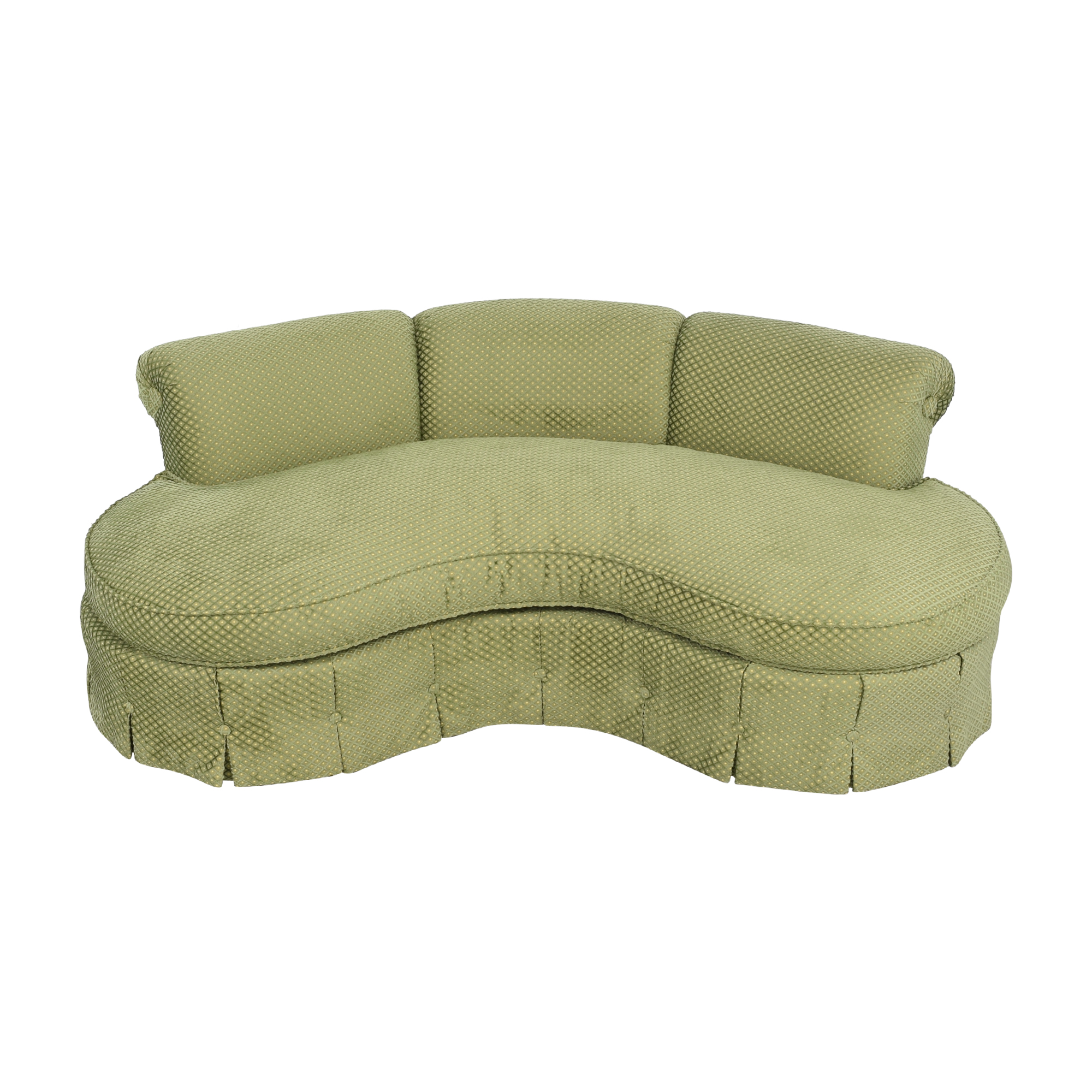 Custom Curved Sofa with Skirted Base and Matching Ottoman / Sofas