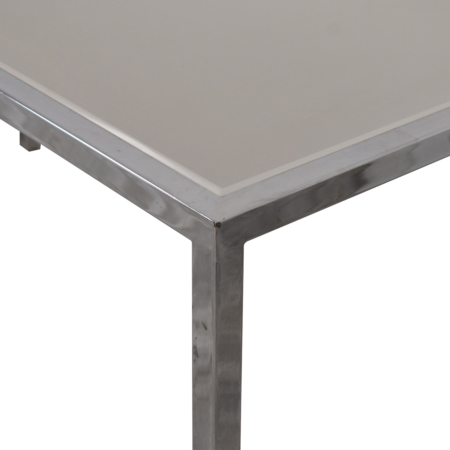 Chrome Base Dining Table with Sunken Glass Top coupon