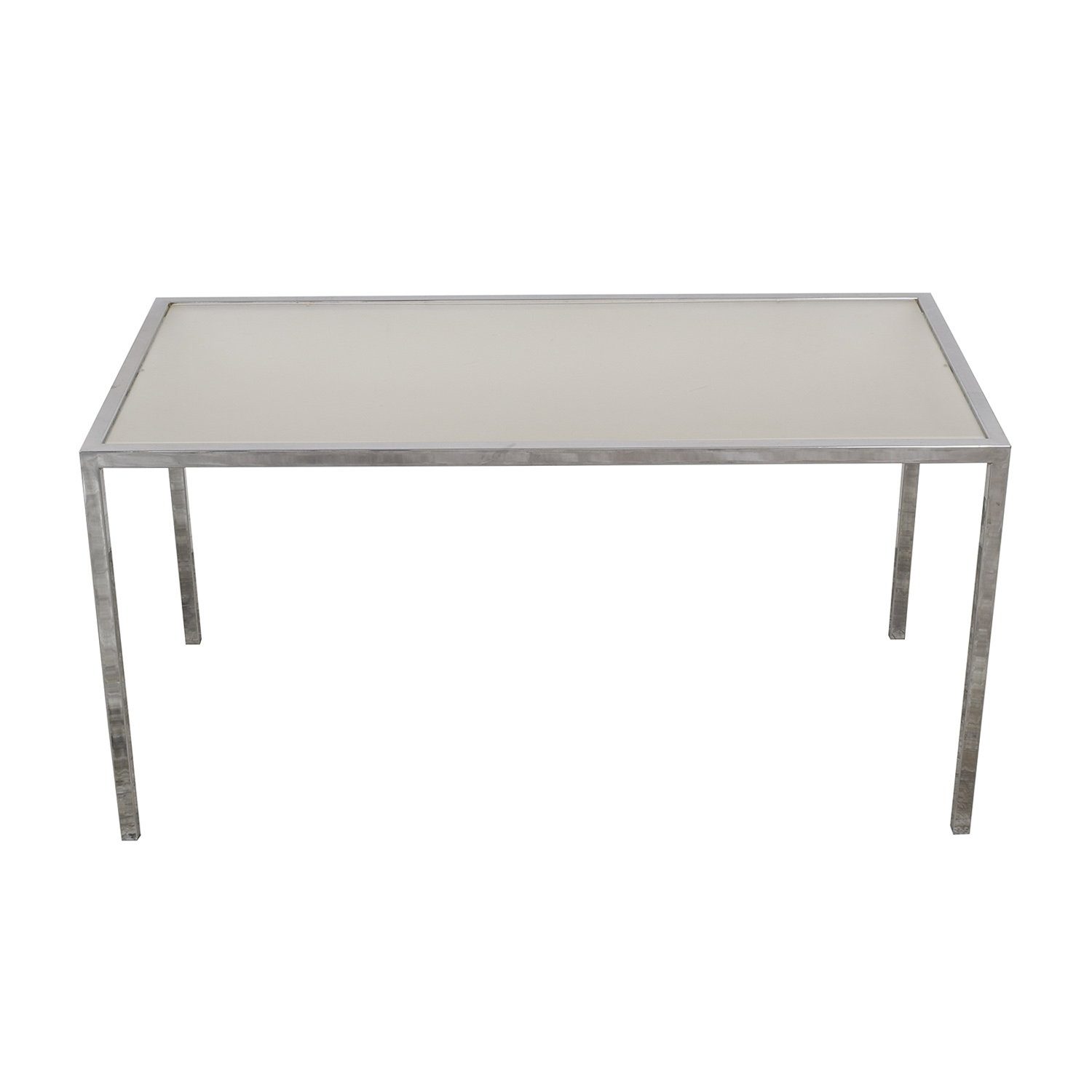 buy Chrome Base Dining Table with Sunken Glass Top  Tables