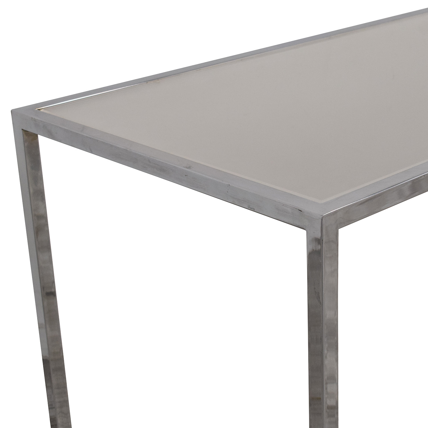 Chrome Base Dining Table with Sunken Glass Top discount