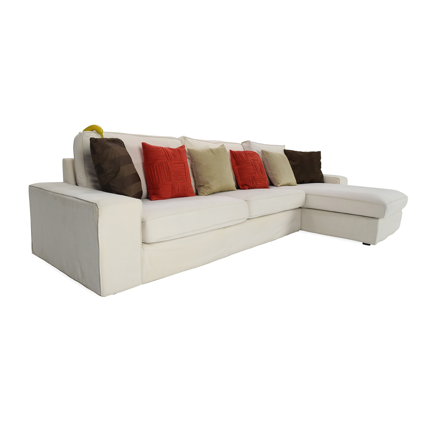 50 off ikea eggshell white sofa with chaise sofas. Black Bedroom Furniture Sets. Home Design Ideas