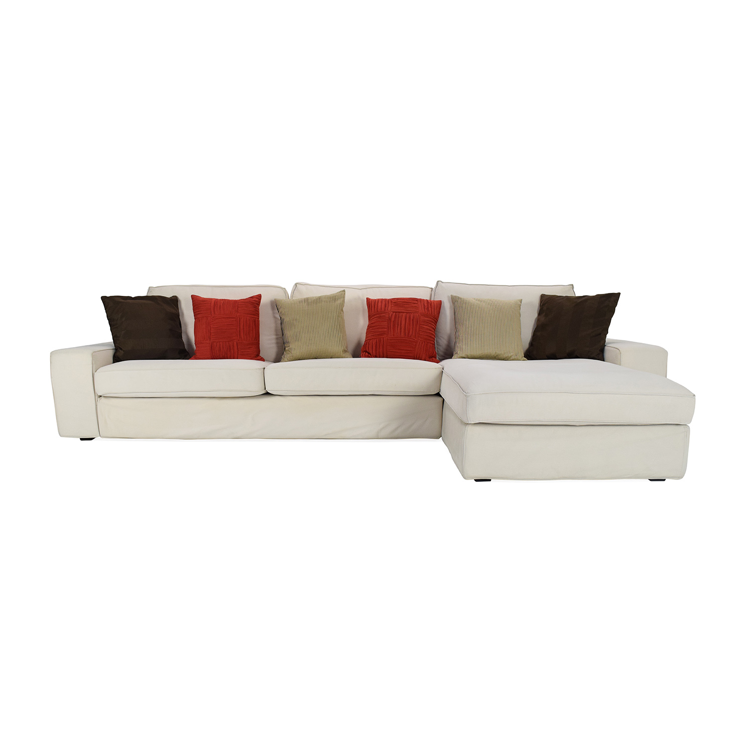 Ikea Eggshell White Sofa with Chaise Eggshell