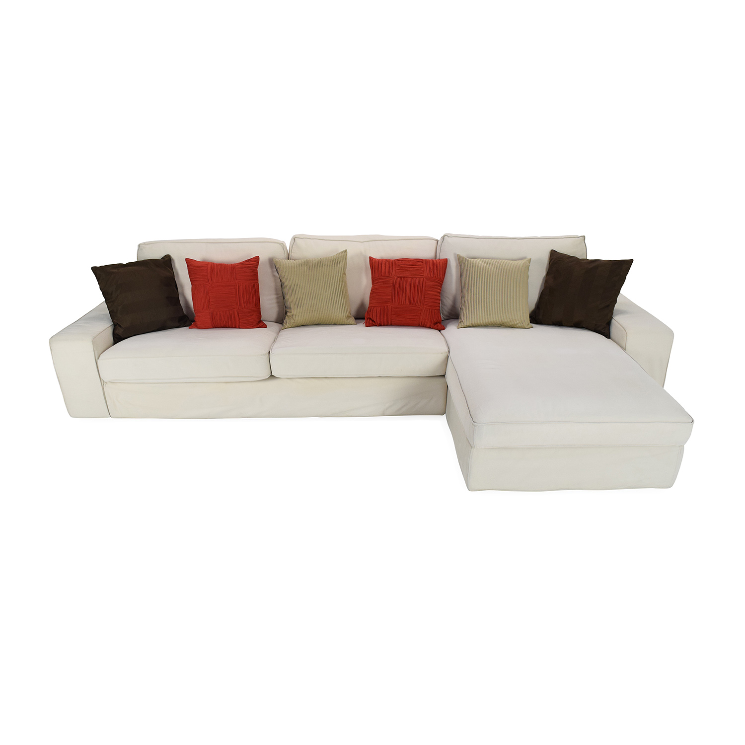 Ikea Eggshell White Sofa with Chaise