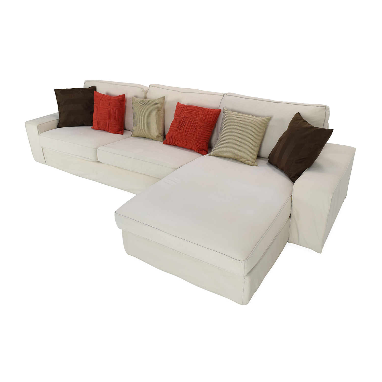 Ikea White Sofa: Ikea Eggshell White Sofa With Chaise / Sofas