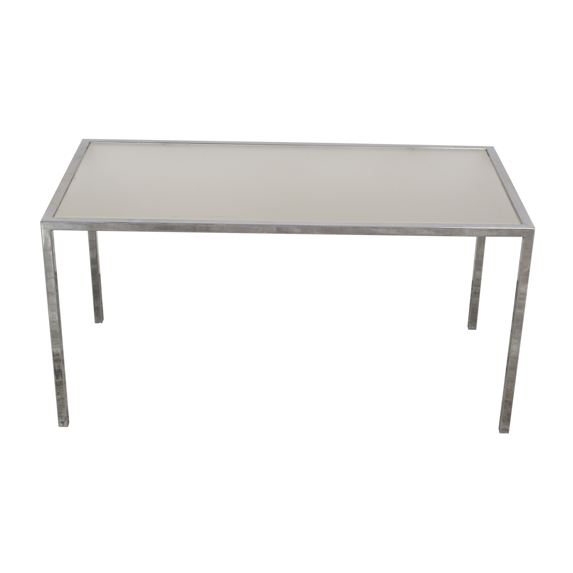 buy Chrome Base Dining Table with Sunken Glass Top