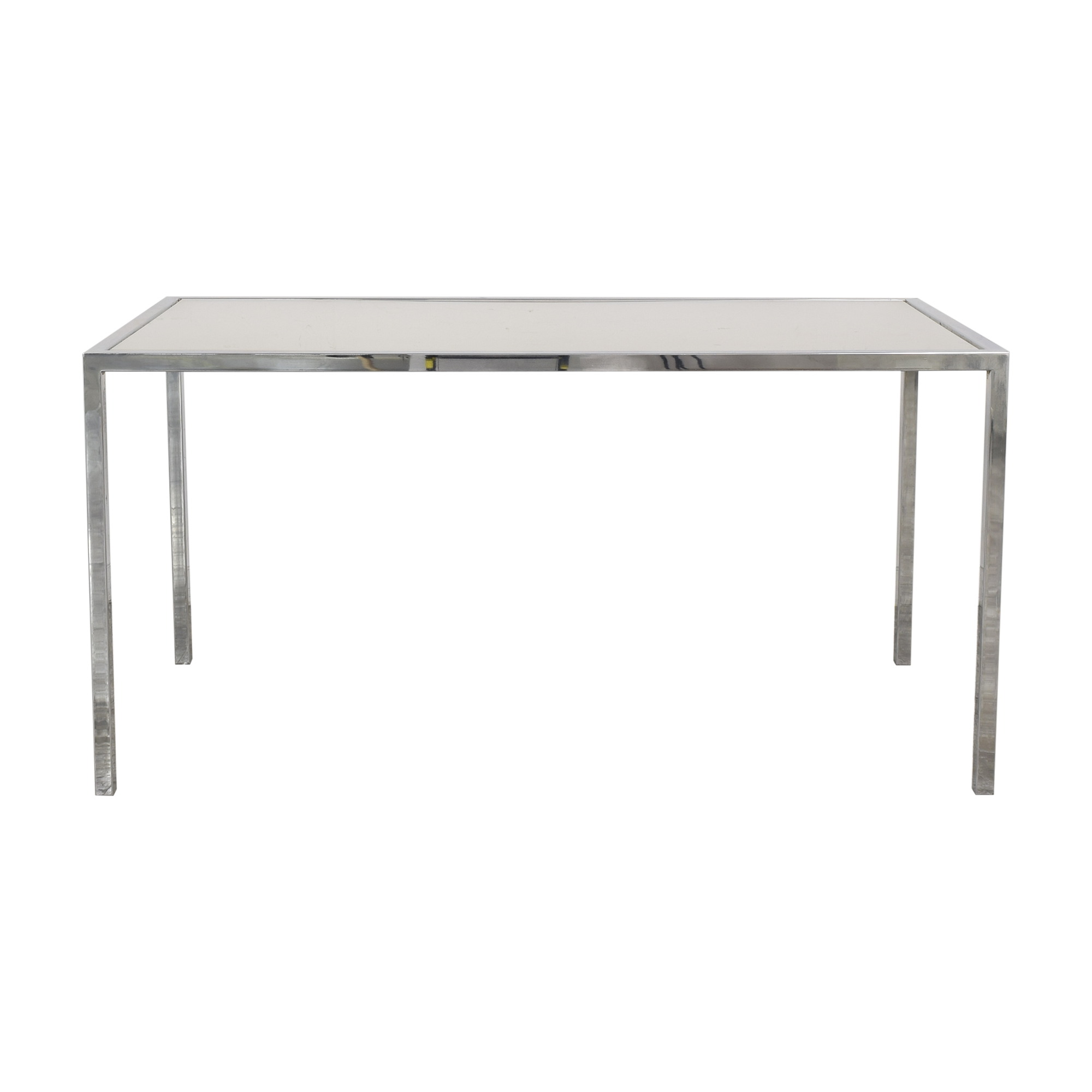 Chrome Base Dining Table with Sunken Glass Top sale