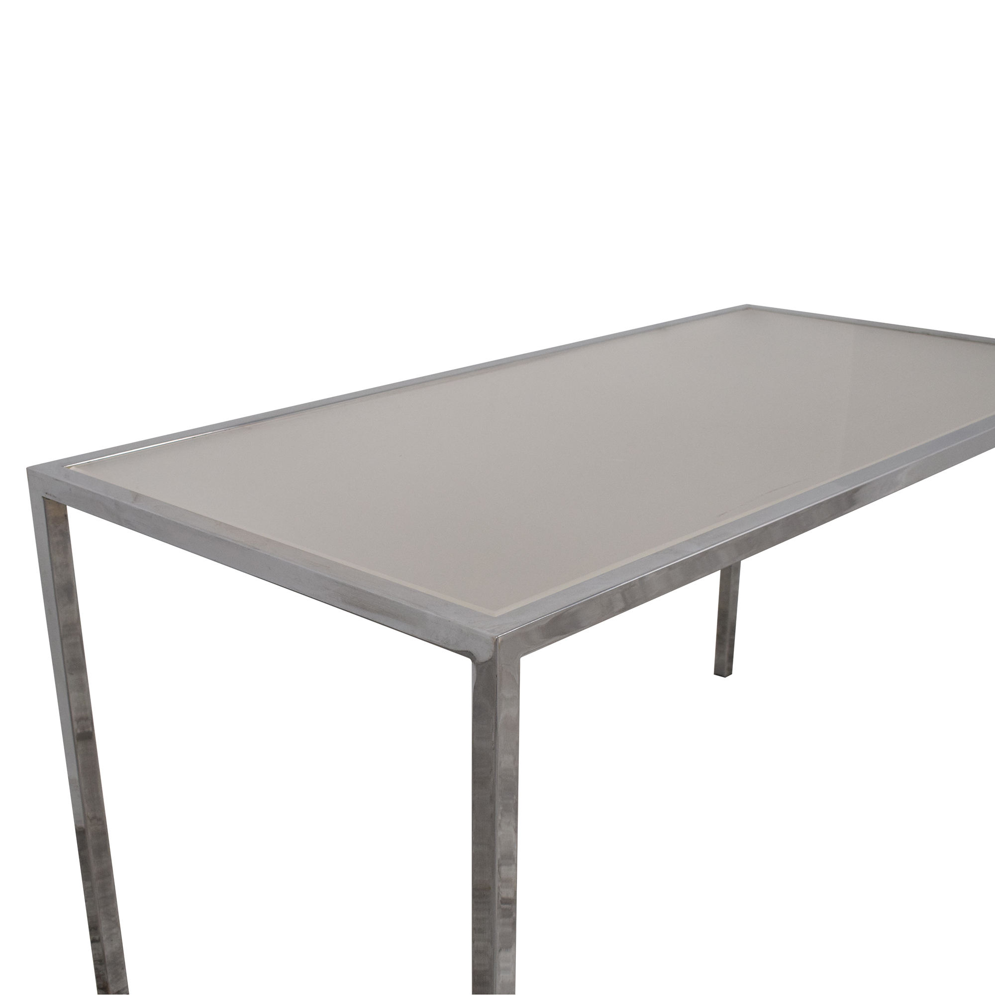 buy  Chrome Base Dining Table with Sunken Glass Top online