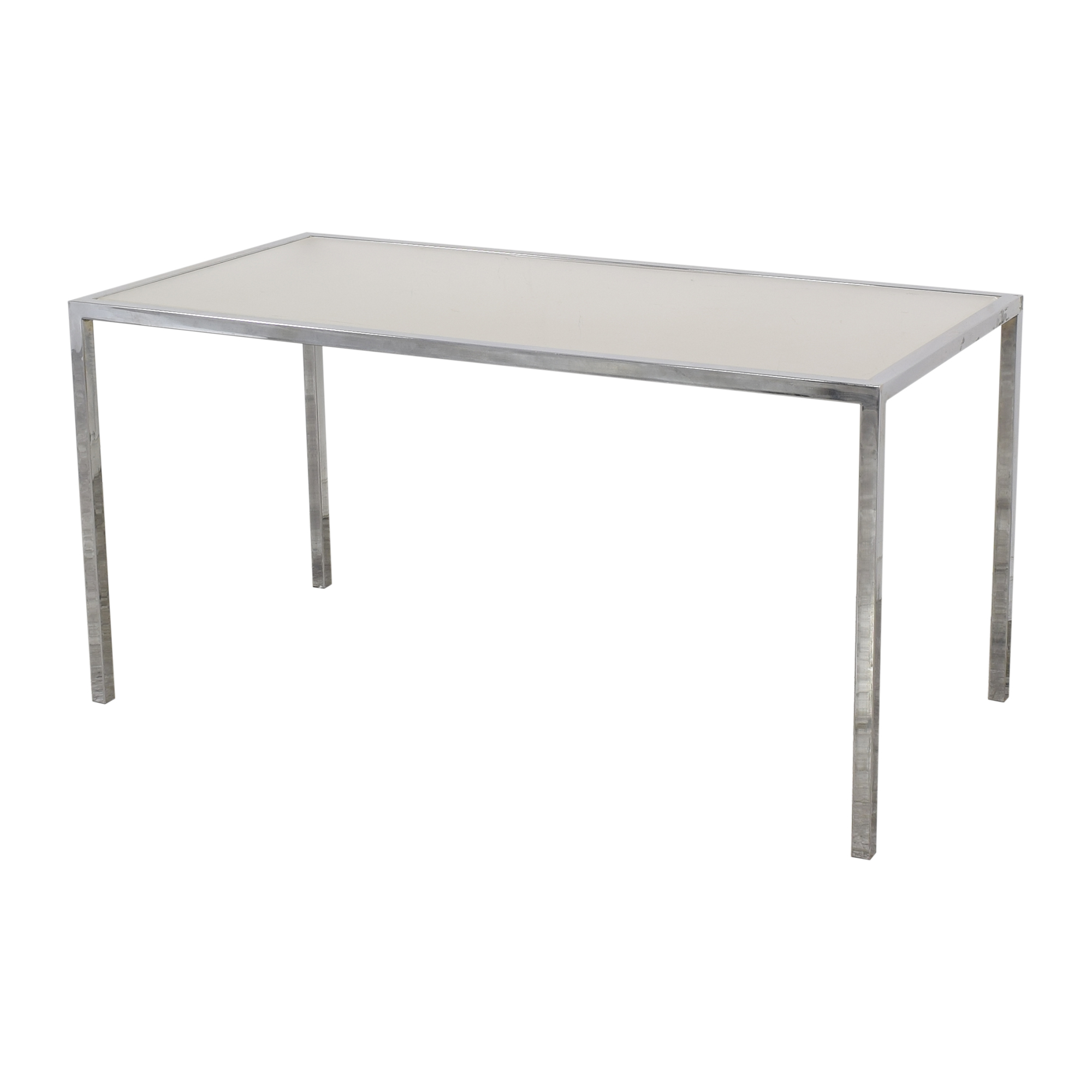 shop Chrome Base Dining Table with Sunken Glass Top