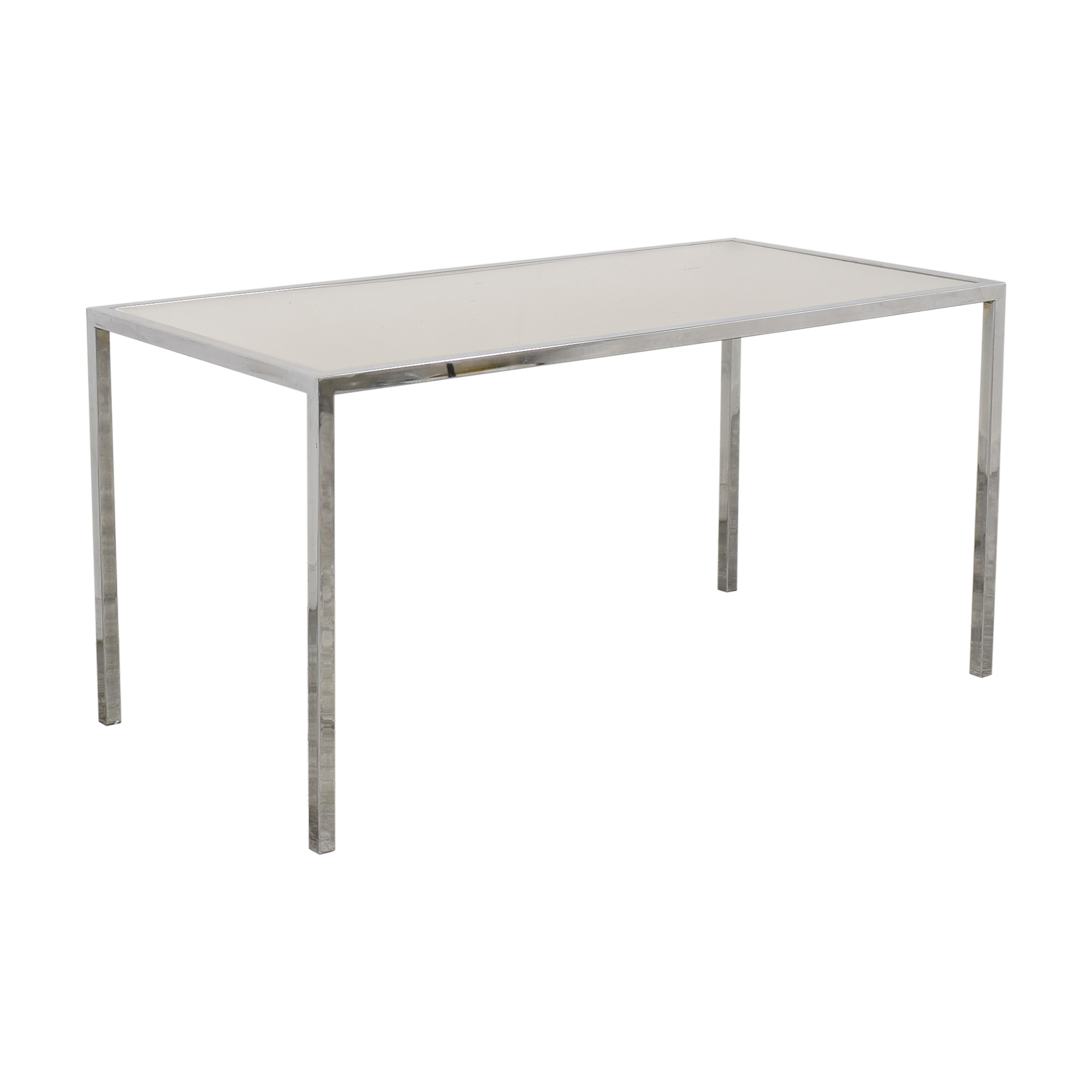 shop Chrome Base Dining Table with Sunken Glass Top  Dinner Tables