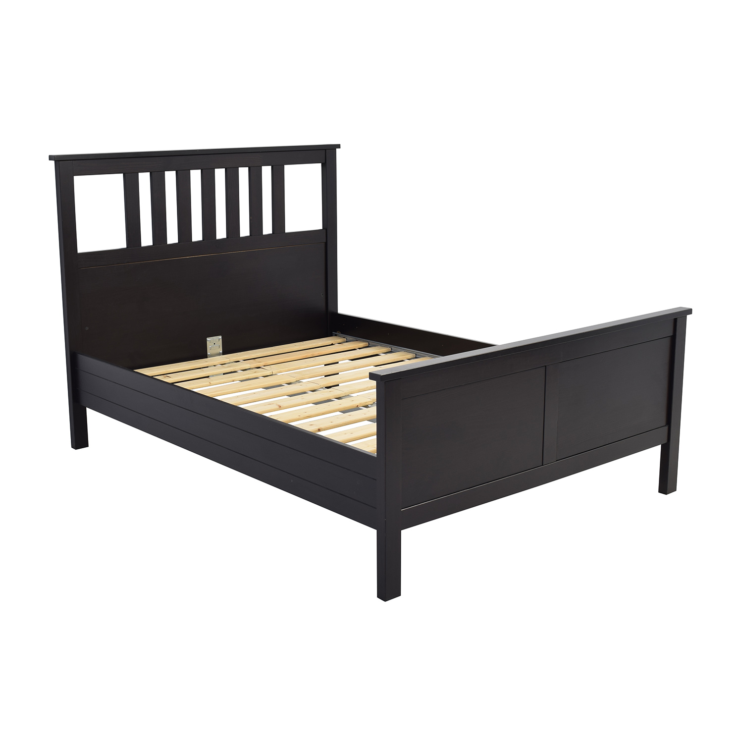53 off ikea ikea dark brown wood queen bed frame beds for Ikea mattress frame