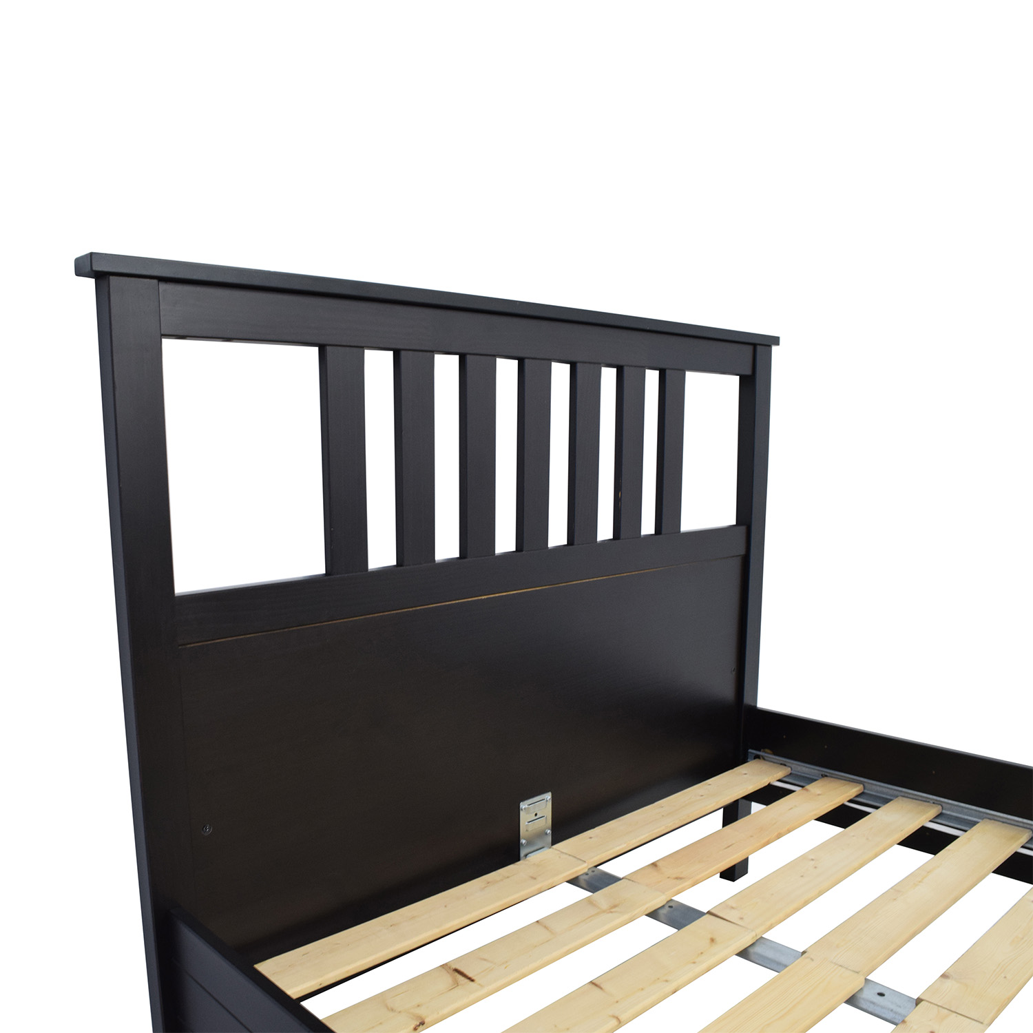 53 off ikea ikea dark brown wood queen bed frame beds for Wood futon frame ikea