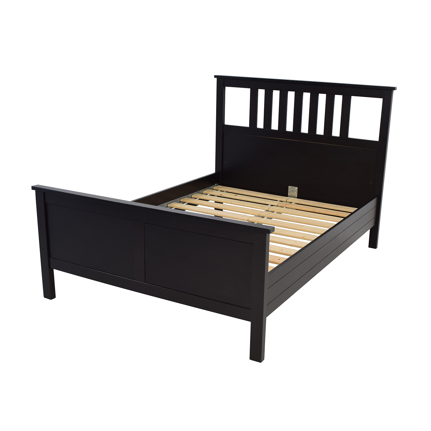 53 off ikea ikea dark brown wood queen bed frame beds - Ikea wood futon frame ...
