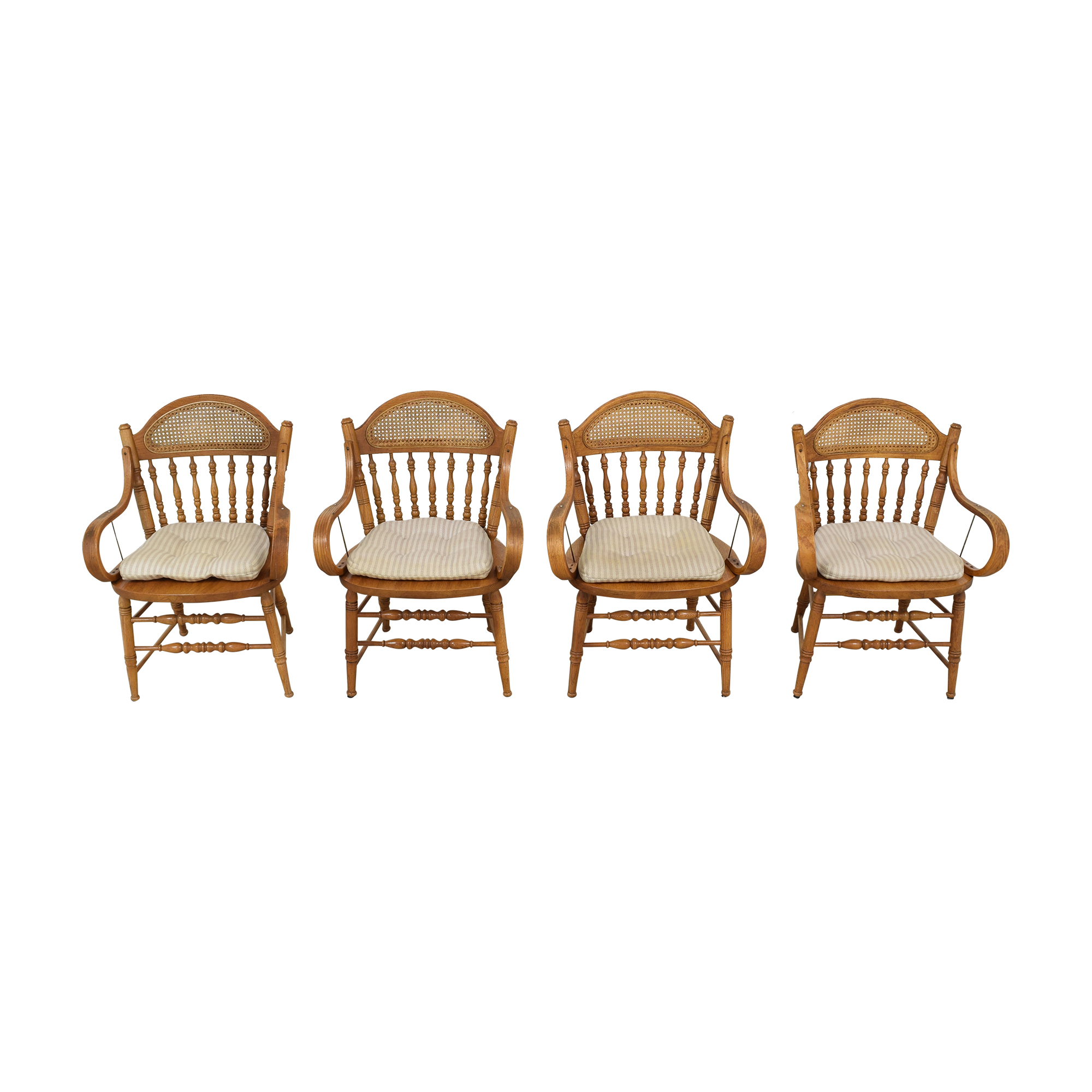 Oak Dining Arm Chairs with Cushions used