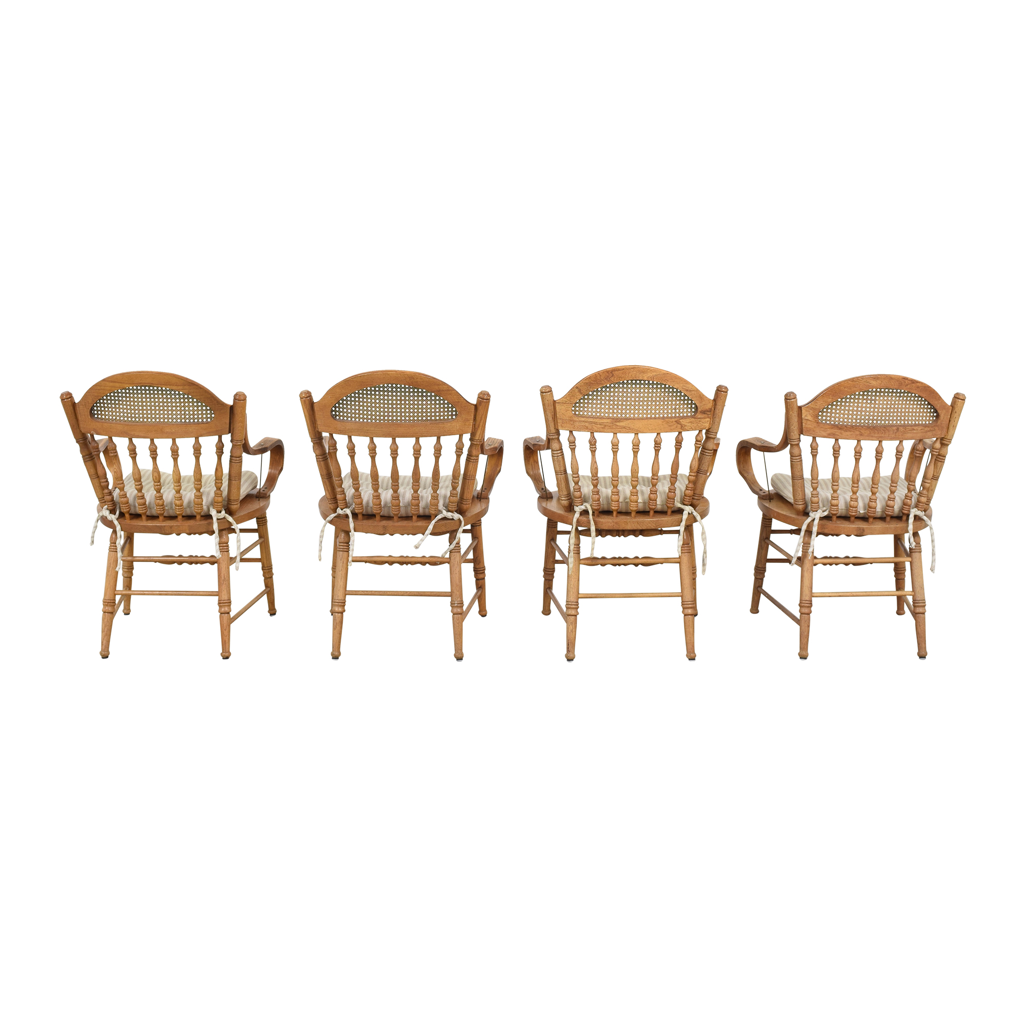 Oak Dining Arm Chairs with Cushions