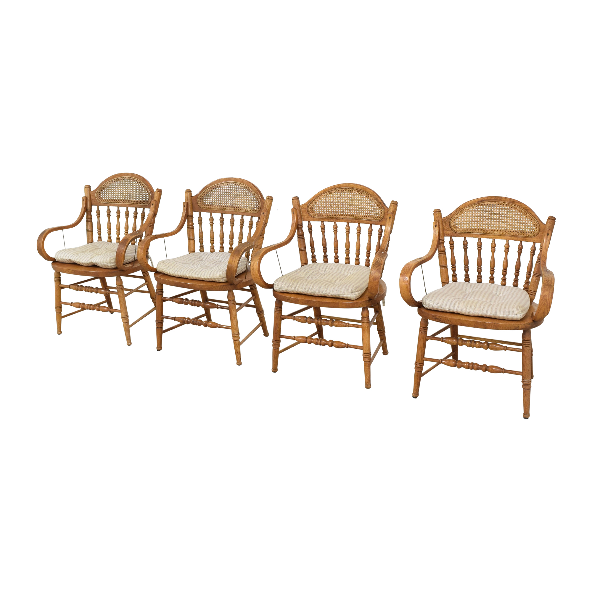 Oak Dining Arm Chairs with Cushions second hand