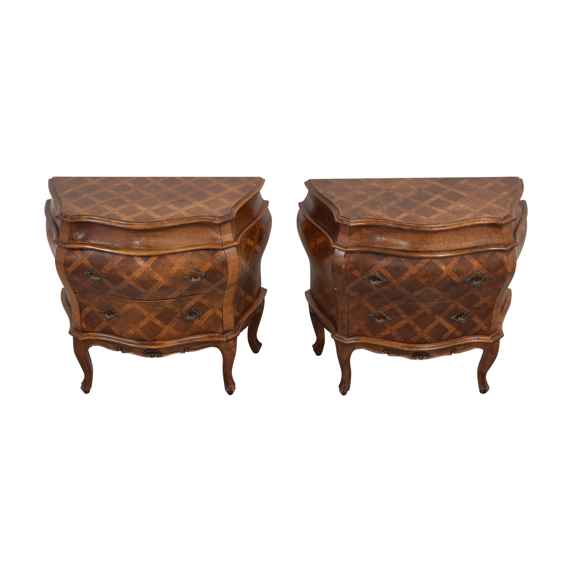 French Style Bombe Shaped End Tables Tables