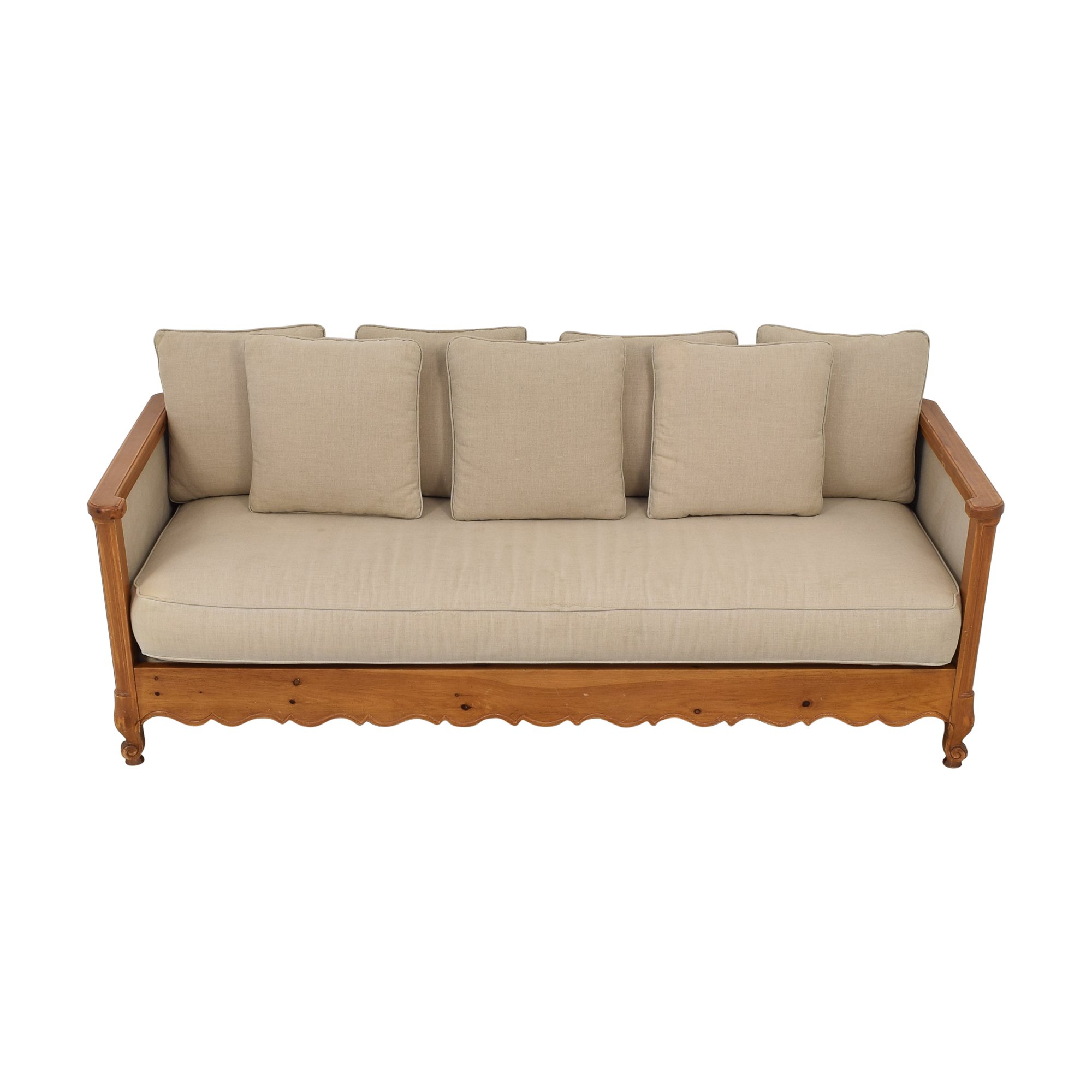 Wood Frame Sofa tan and brown