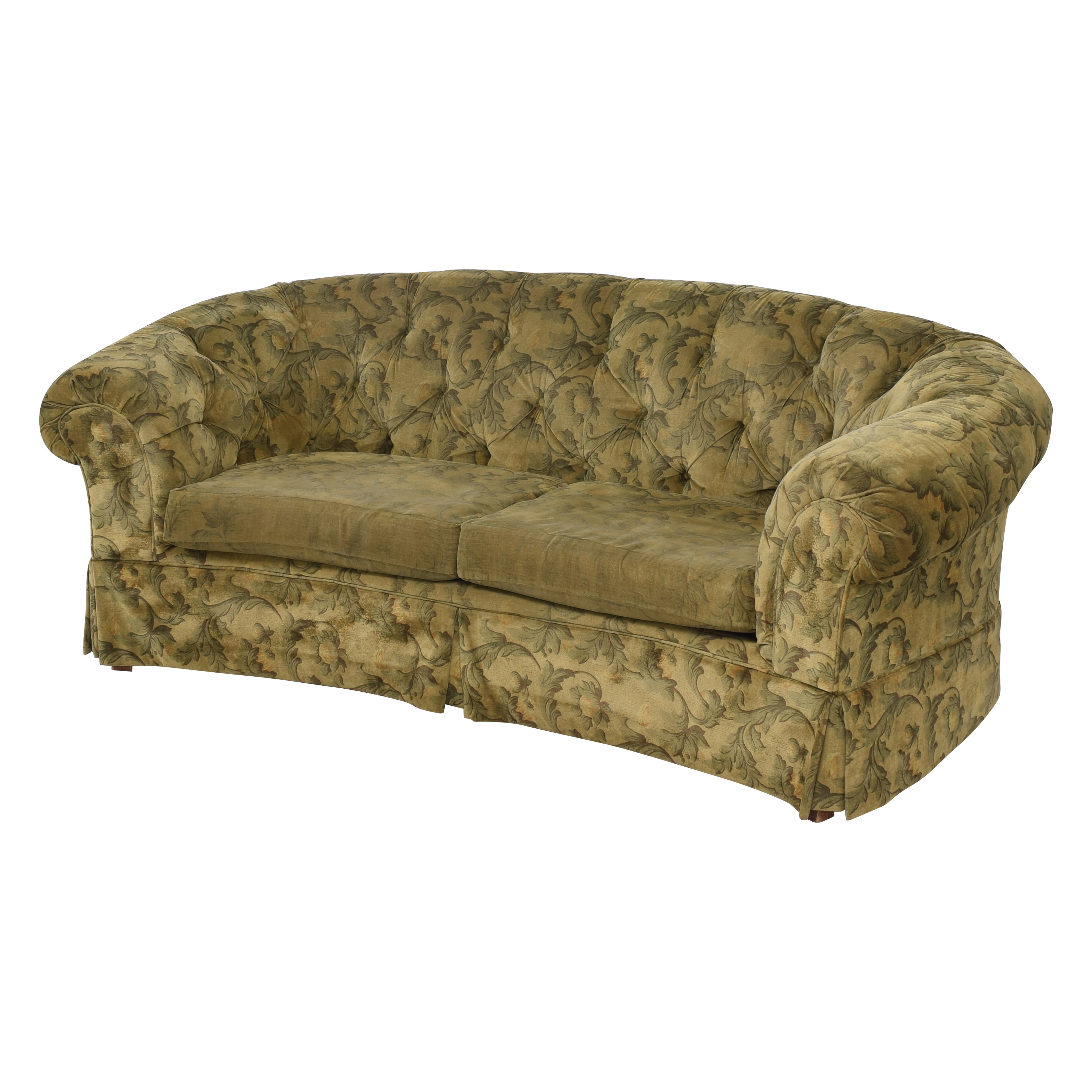 Curved Back Rolled Arm Tufted Sofa