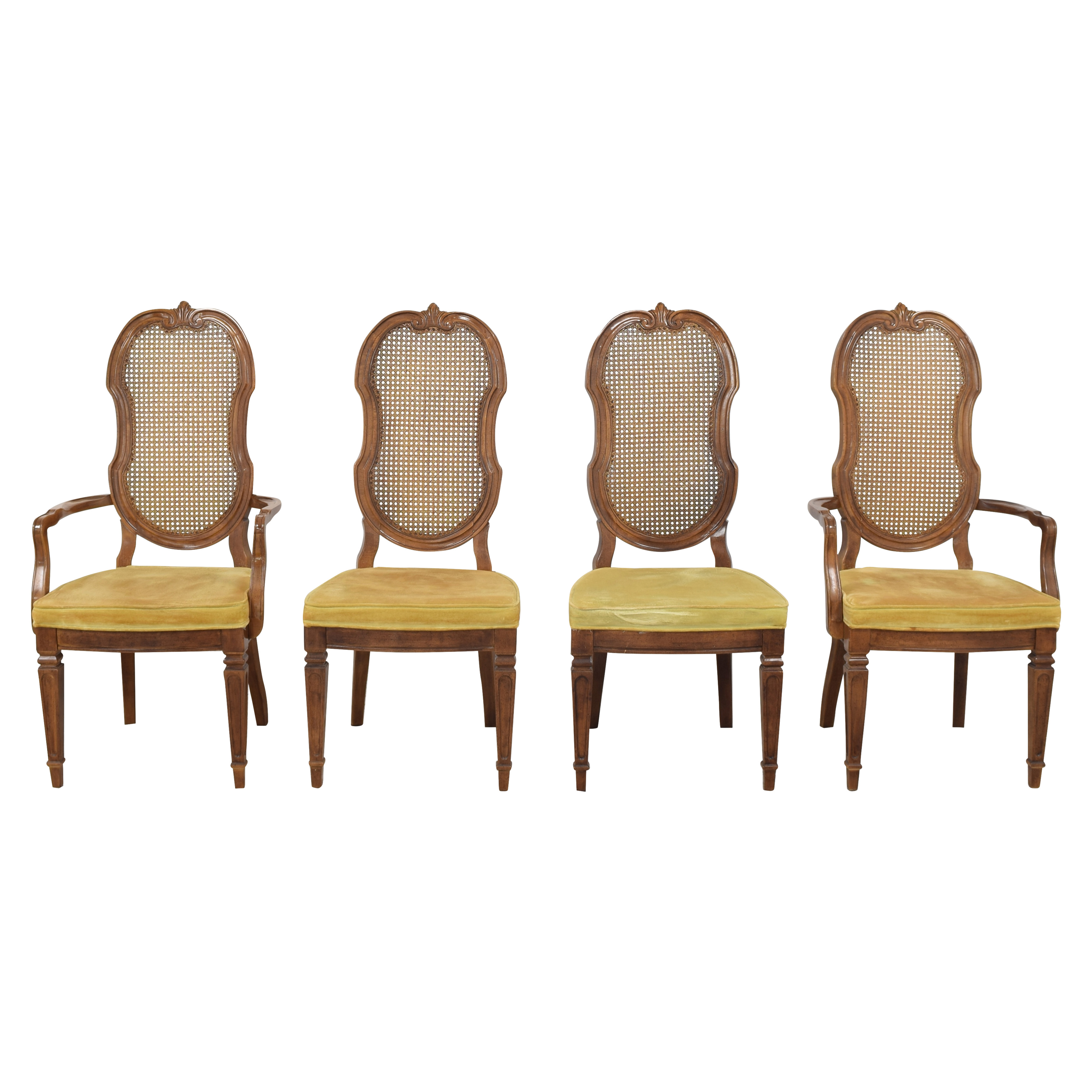 Thomasville Thomasville Italian Provincial Style Cane Back Dining Chairs second hand