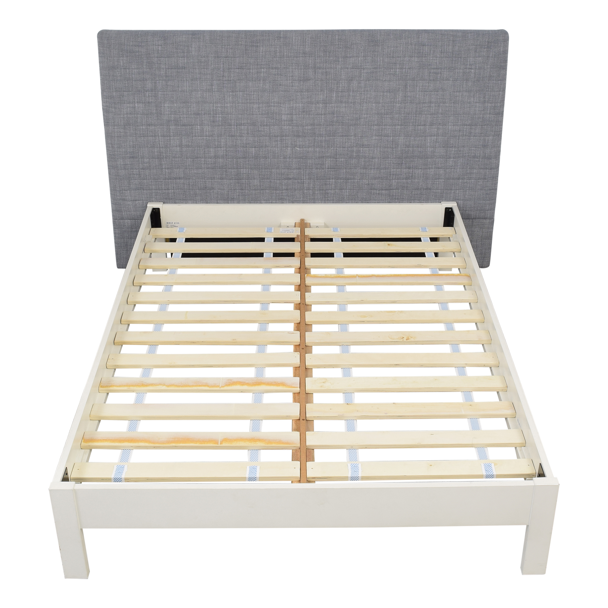 West Elm West Elm Full Size Simple Bed Frame with Upholstered Headboard light blue & white