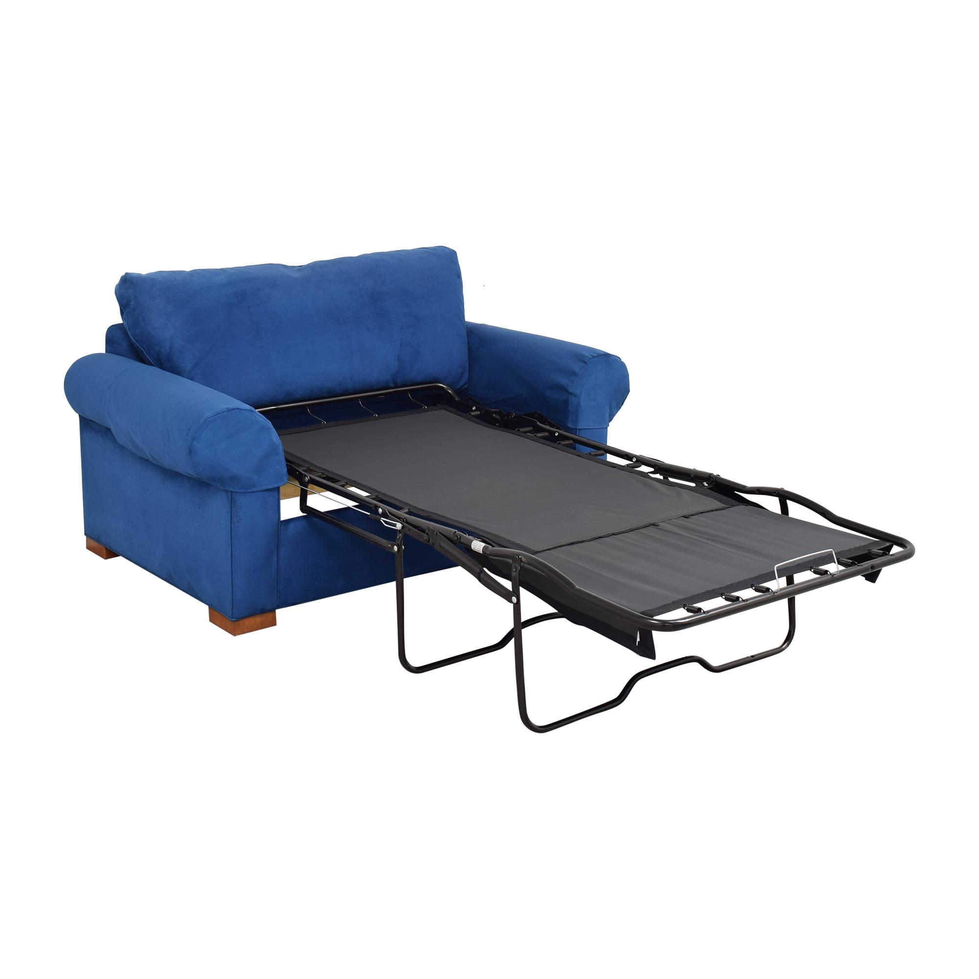 Ethan Allen Ethan Allen Twin Sleeper Marina Chair with Ottoman blue