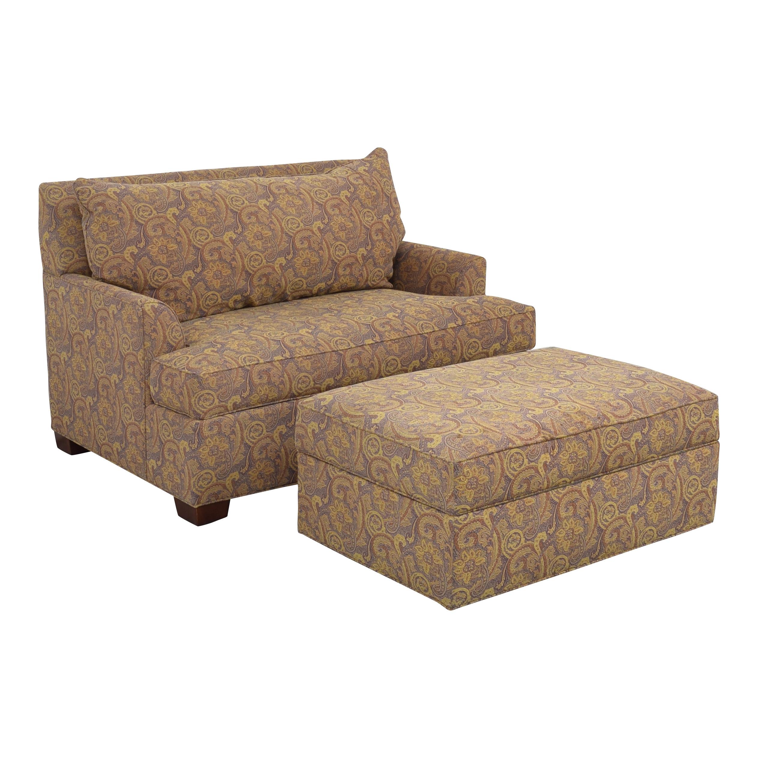 shop Ethan Allen Ethan Allen Marina Chair and a Half Twin Sleeper with Ottoman online