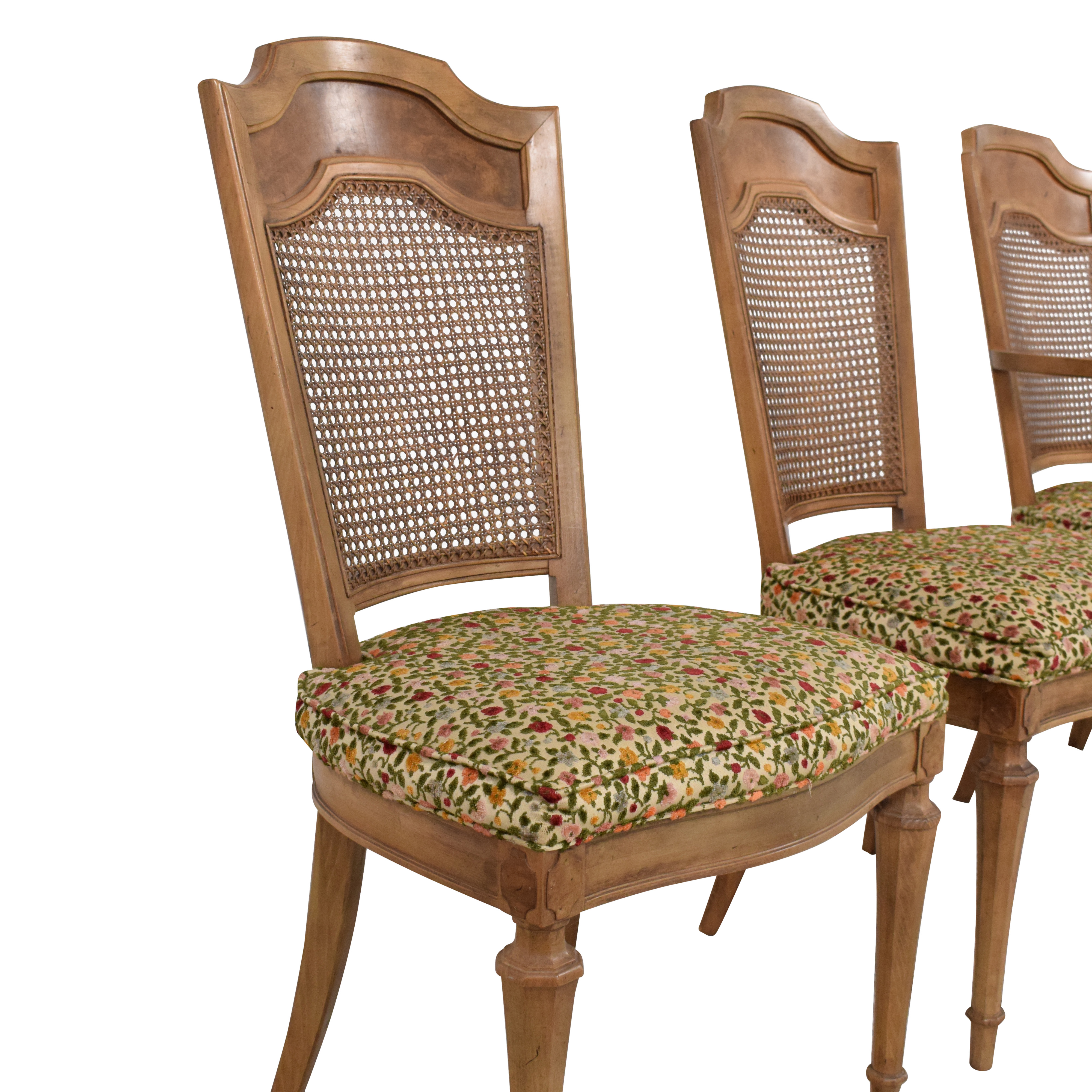 Upholstered Cane Back Dining Chairs / Chairs