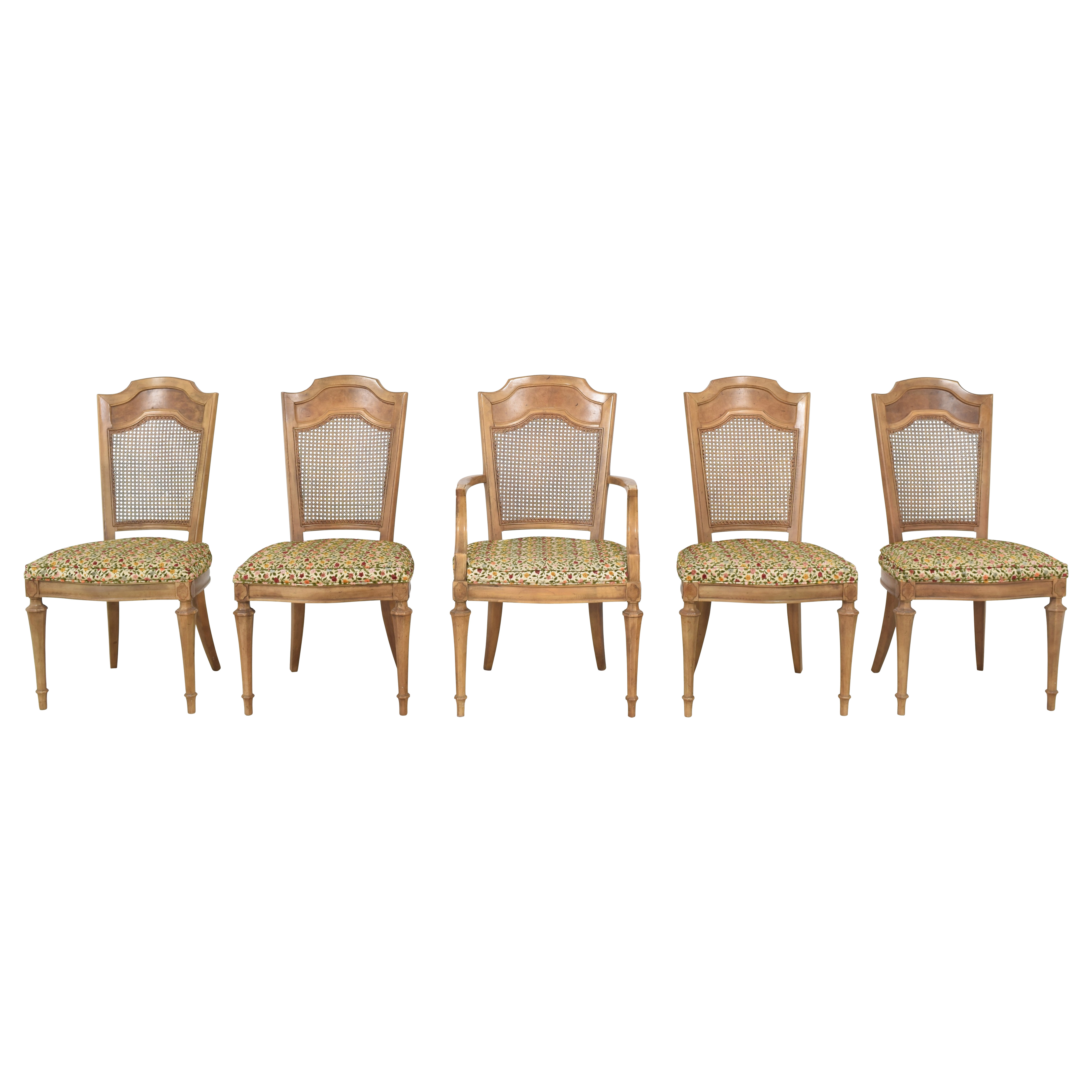 Upholstered Cane Back Dining Chairs on sale