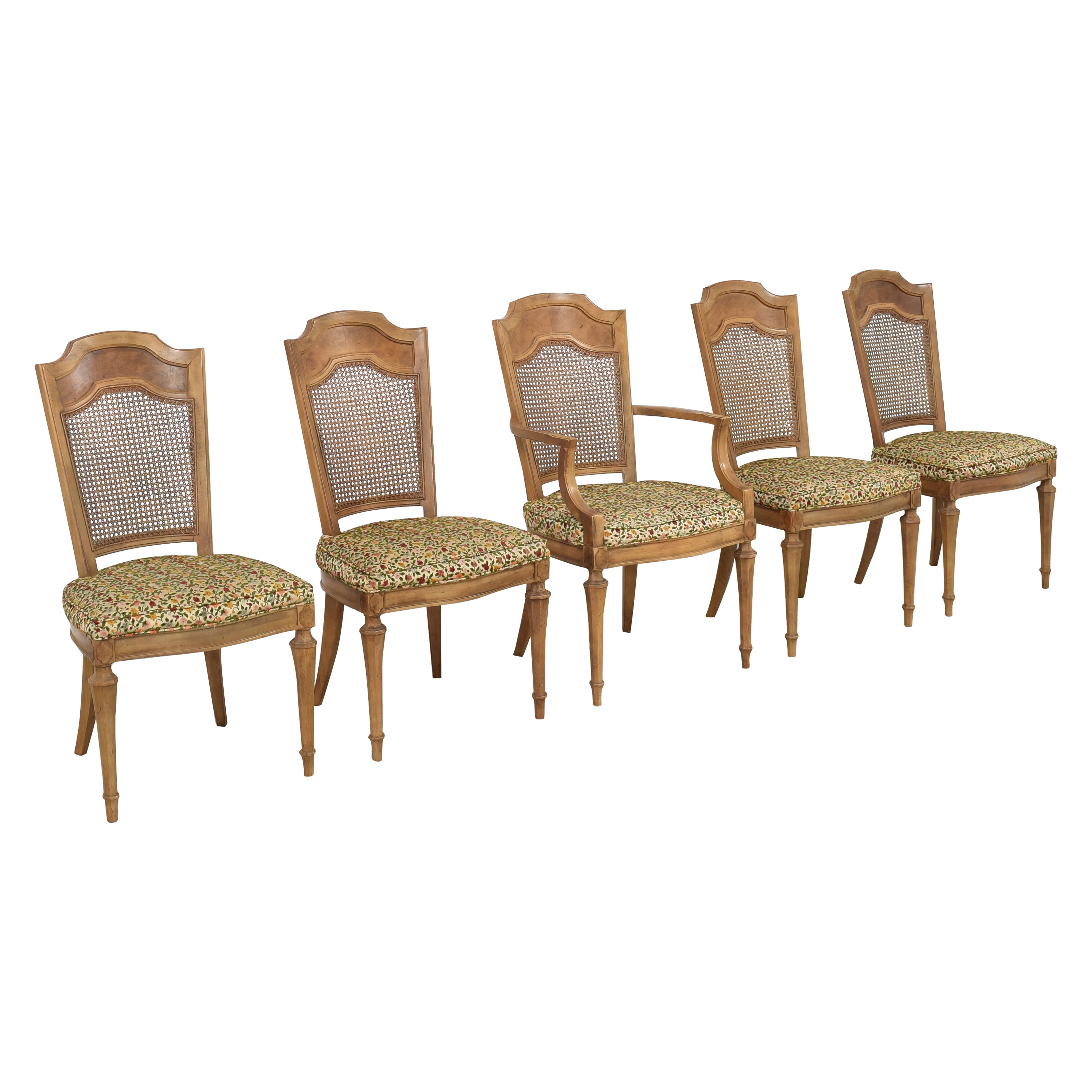 Upholstered Cane Back Dining Chairs