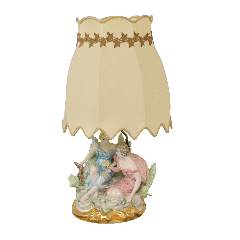 Capodimonte Porcelain Figurine Lamp ma