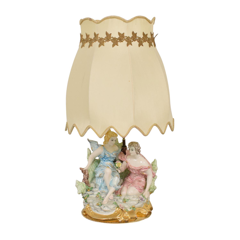 Capodimonte Porcelain Figurine Lamp dimensions