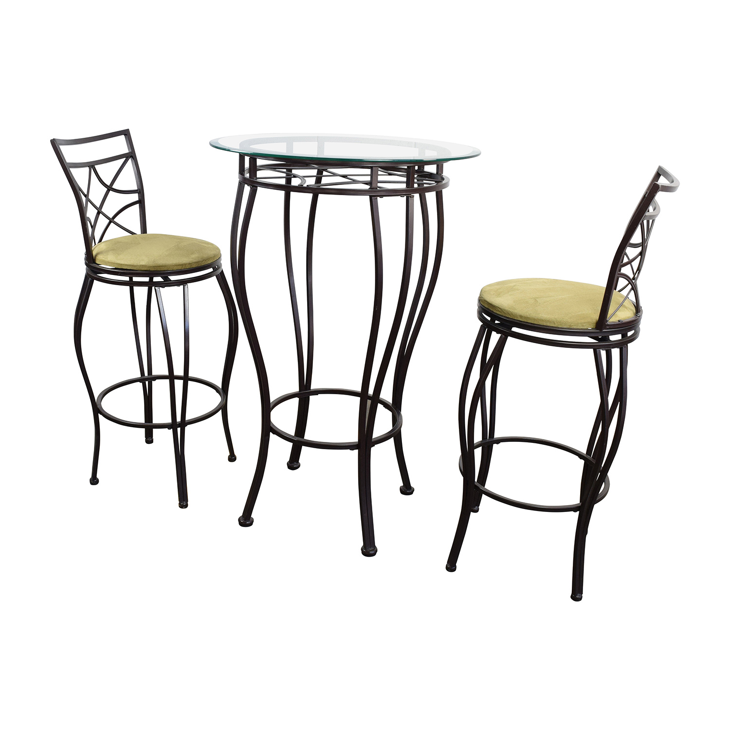 89% OFF - Iron Bistro Table and Two Chairs / Tables