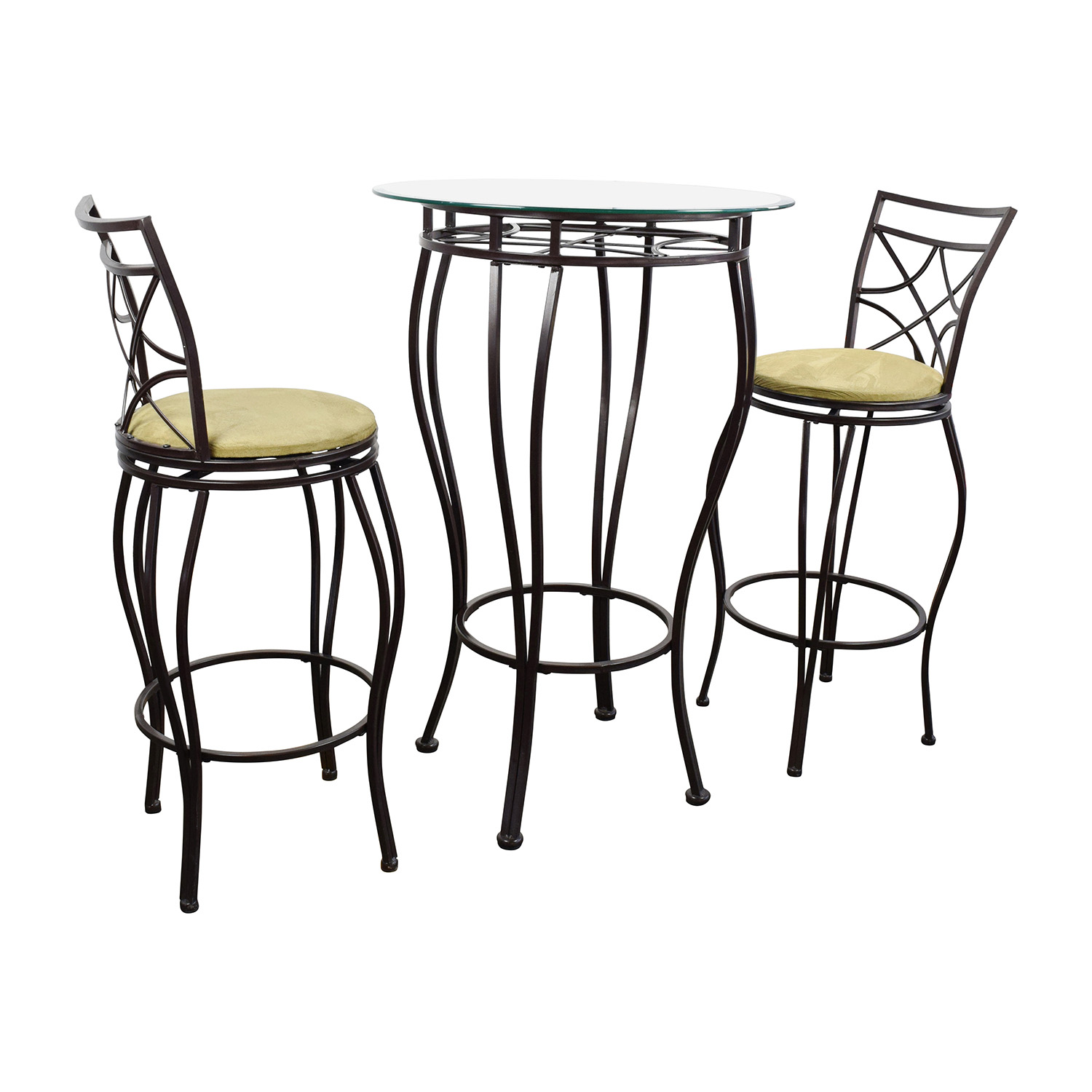 89 off iron bistro table and two chairs tables. Black Bedroom Furniture Sets. Home Design Ideas