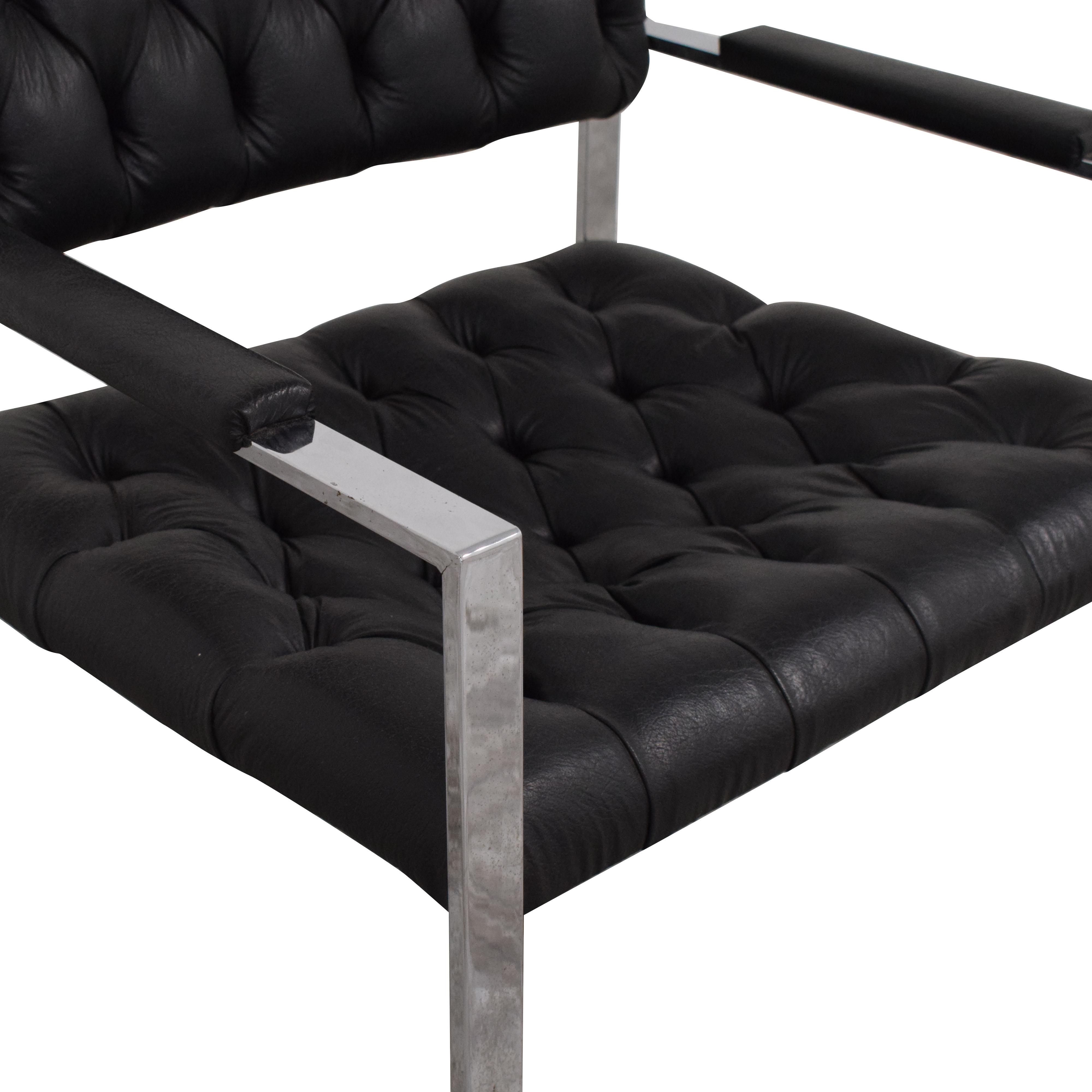 Thayer Coggin Milo Baughman for Thayer Coggin Black Tufted Arm Chair on sale