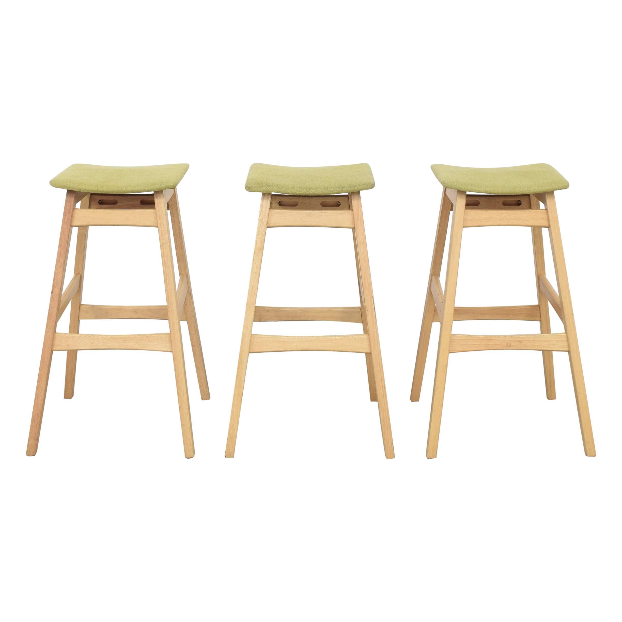 Noble House Noble House Teak Bar Stools with Green Cushion used