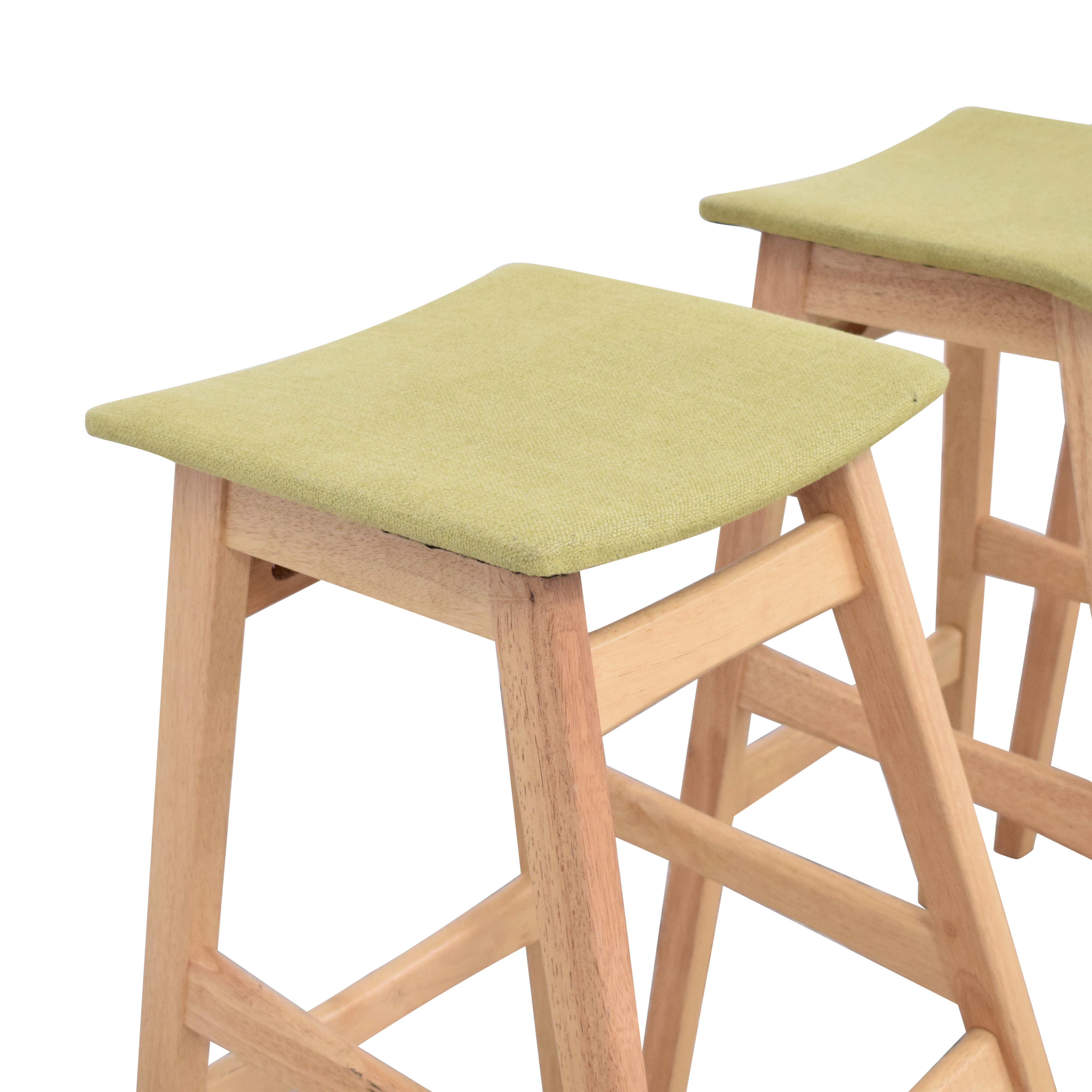 Noble House Noble House Teak Bar Stools with Green Cushion discount