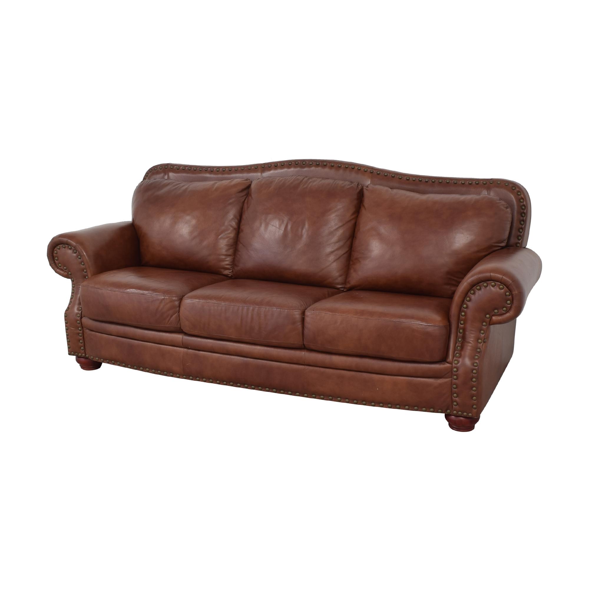 Rolled Arm Camel Back Sofa brown