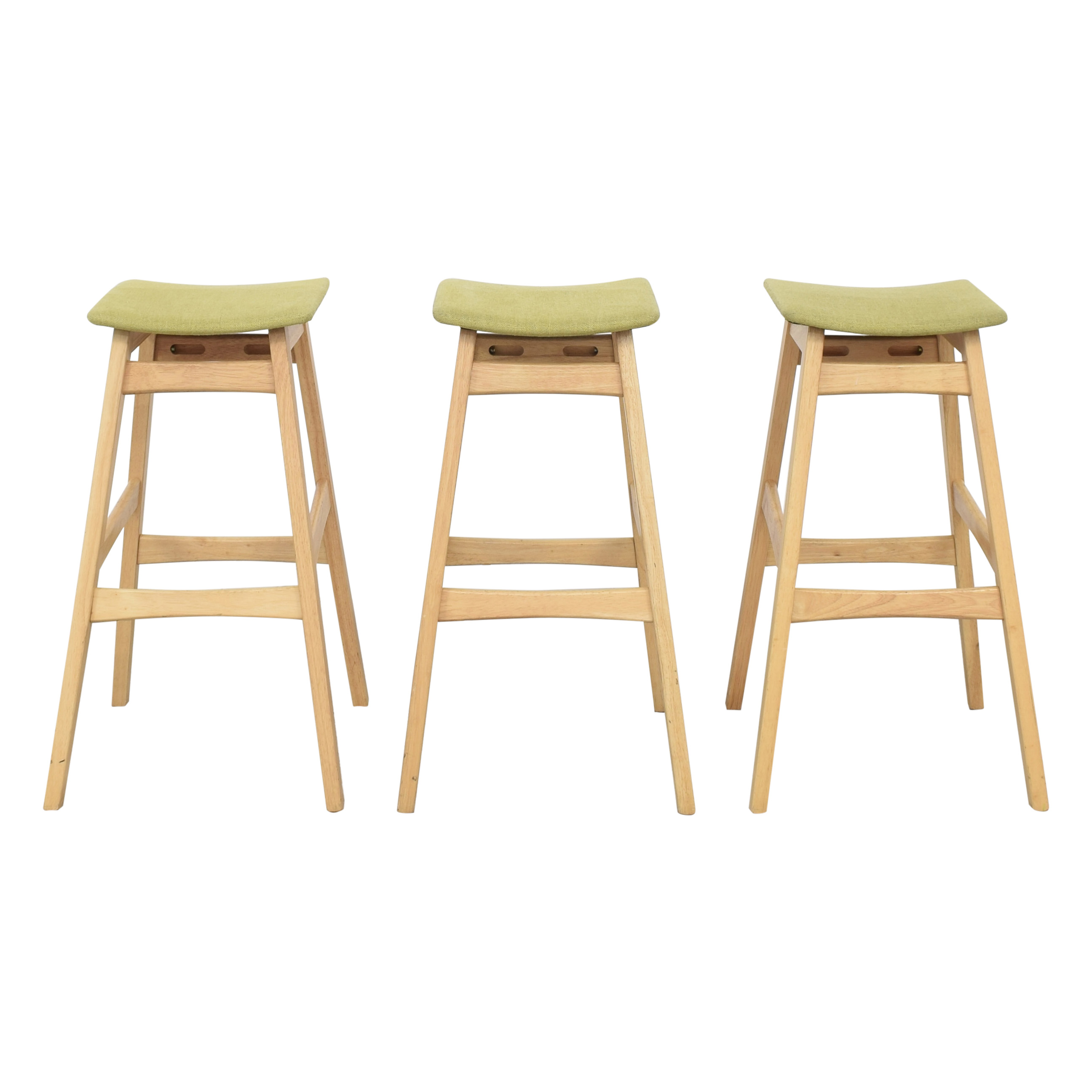 shop Noble House Teak Bar Stools with Green Cushion Noble House Chairs
